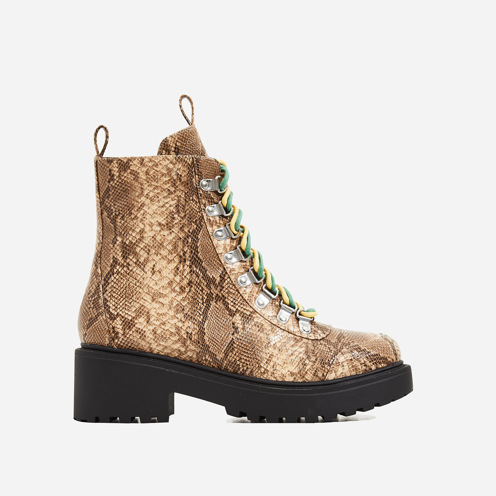 Kris Chunky Sole Lace Up Ankle Biker Boot In Nude Snake Print Faux Leather