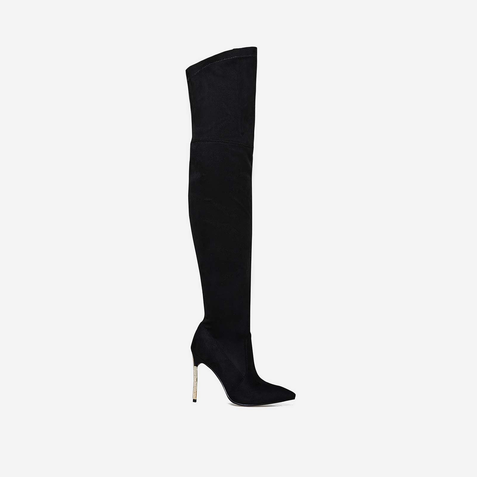 Krystal Pearl Detail Thigh High Long Boot In Black Faux Suede