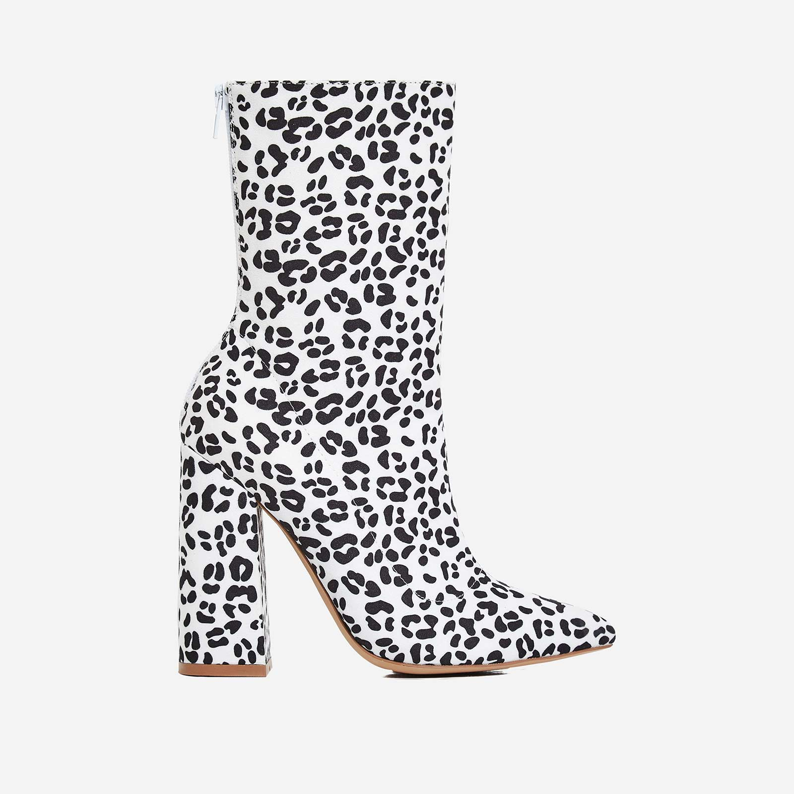 Larsa Block Heel Ankle Boot In White Leopard Print Faux Suede