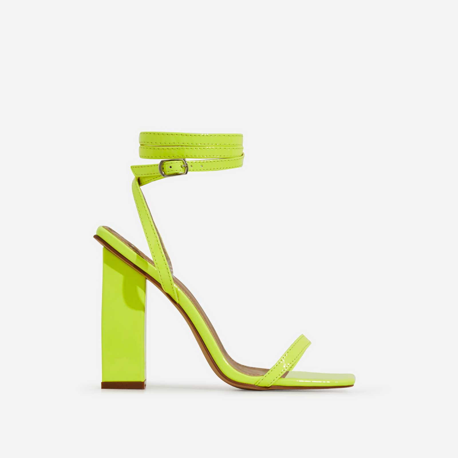 Lauve Lace Up Square Toe Block Heel In Lime Green Patent