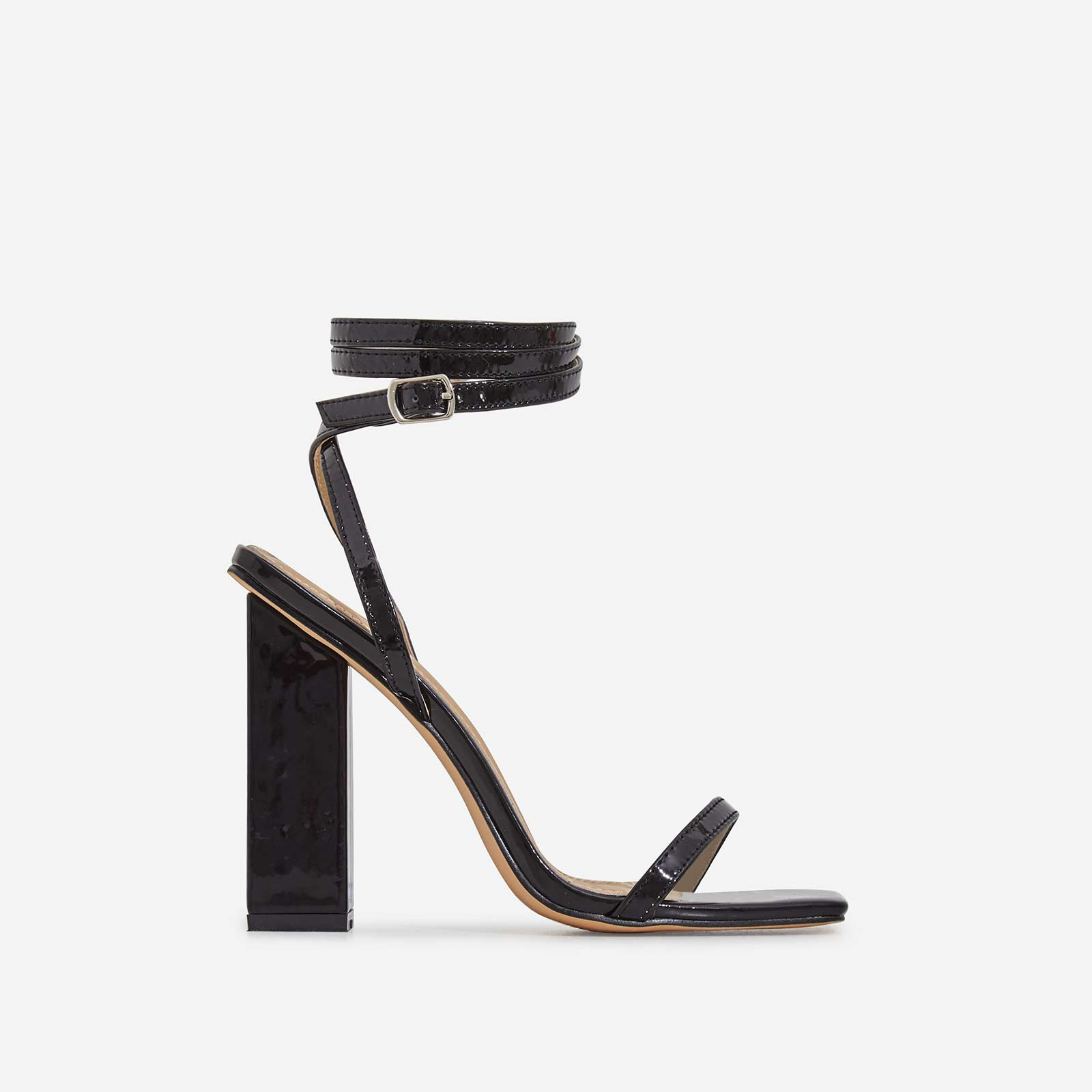 Lauve Lace Up Square Toe Block Heel In Black Patent