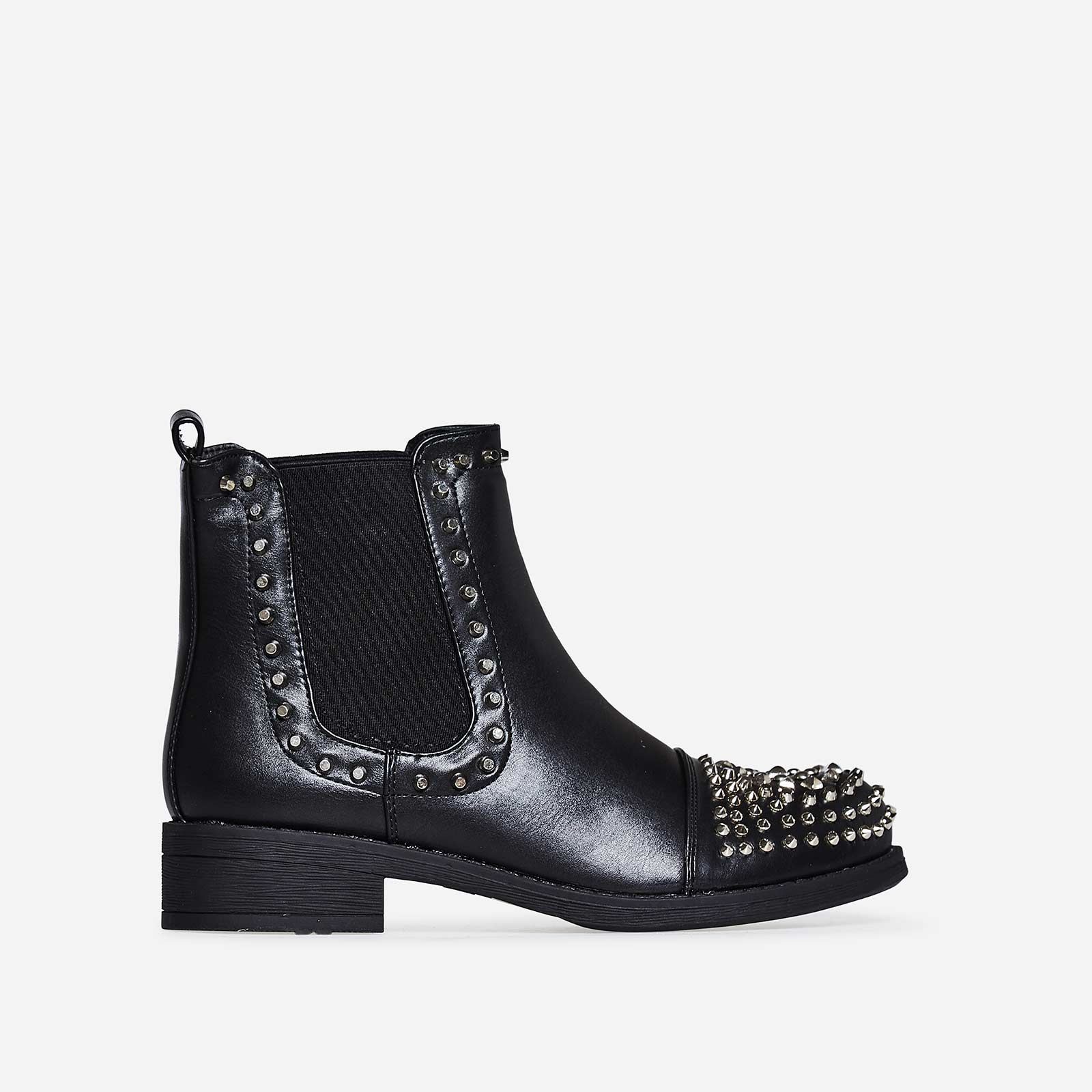 Terri Studded Detail Chelsea Boot In Black Faux Leather