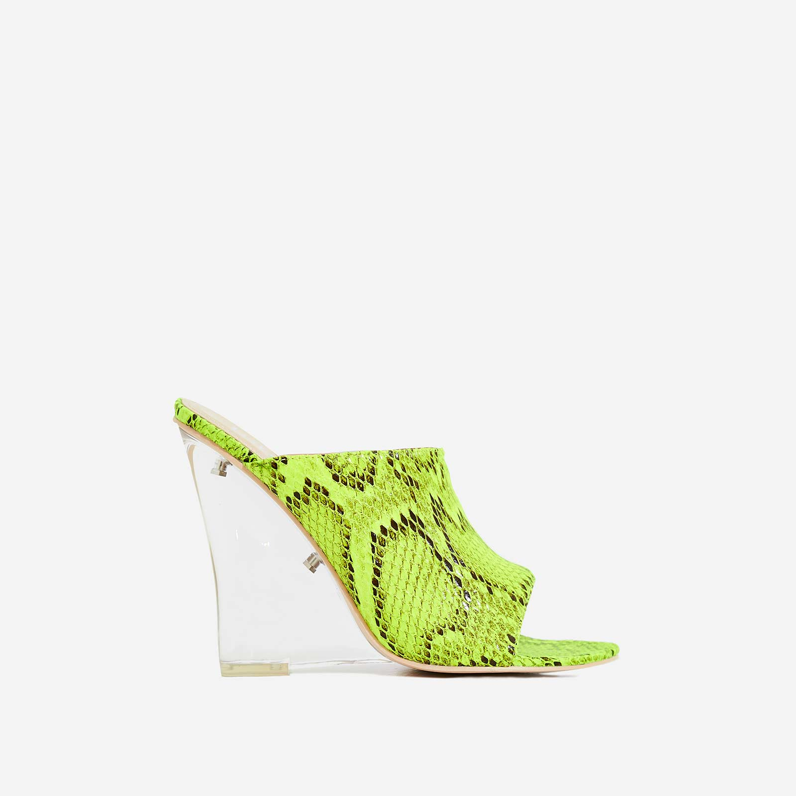 Candy Perspex Wedge Peep Toe Mule In Lime Green Snake Print Faux Leather