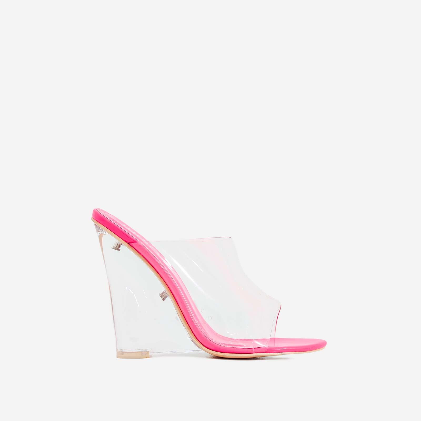 Lemonade Perspex Wedge Peep Toe Mule In Fuchsia Pink Patent
