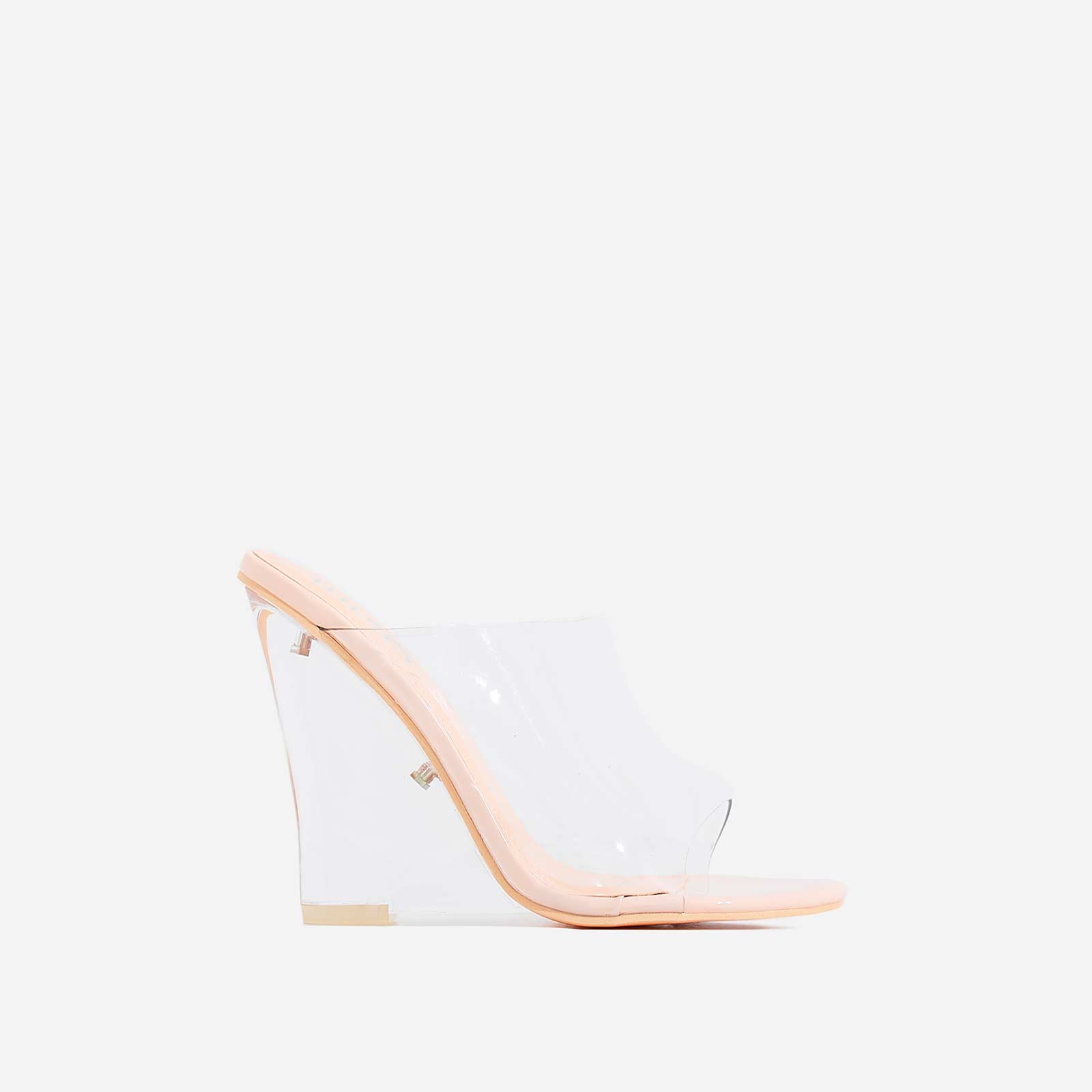 Lemonade Perspex Wedge Peep Toe Mule In Nude Patent