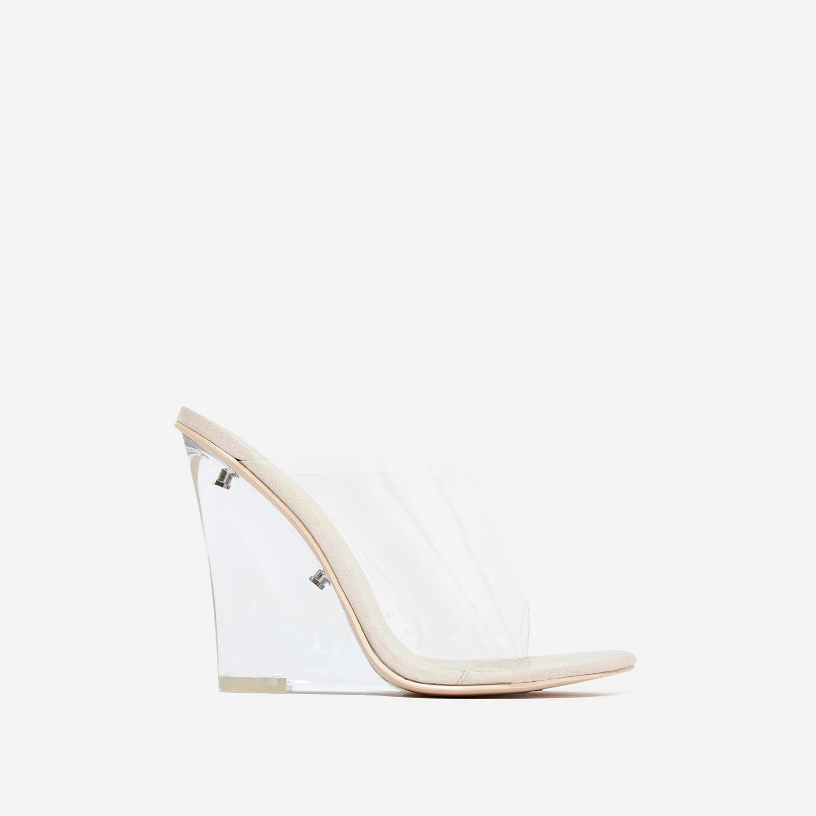 Lemonade Perspex Wedge Clear Heel Mule In Nude Faux Suede