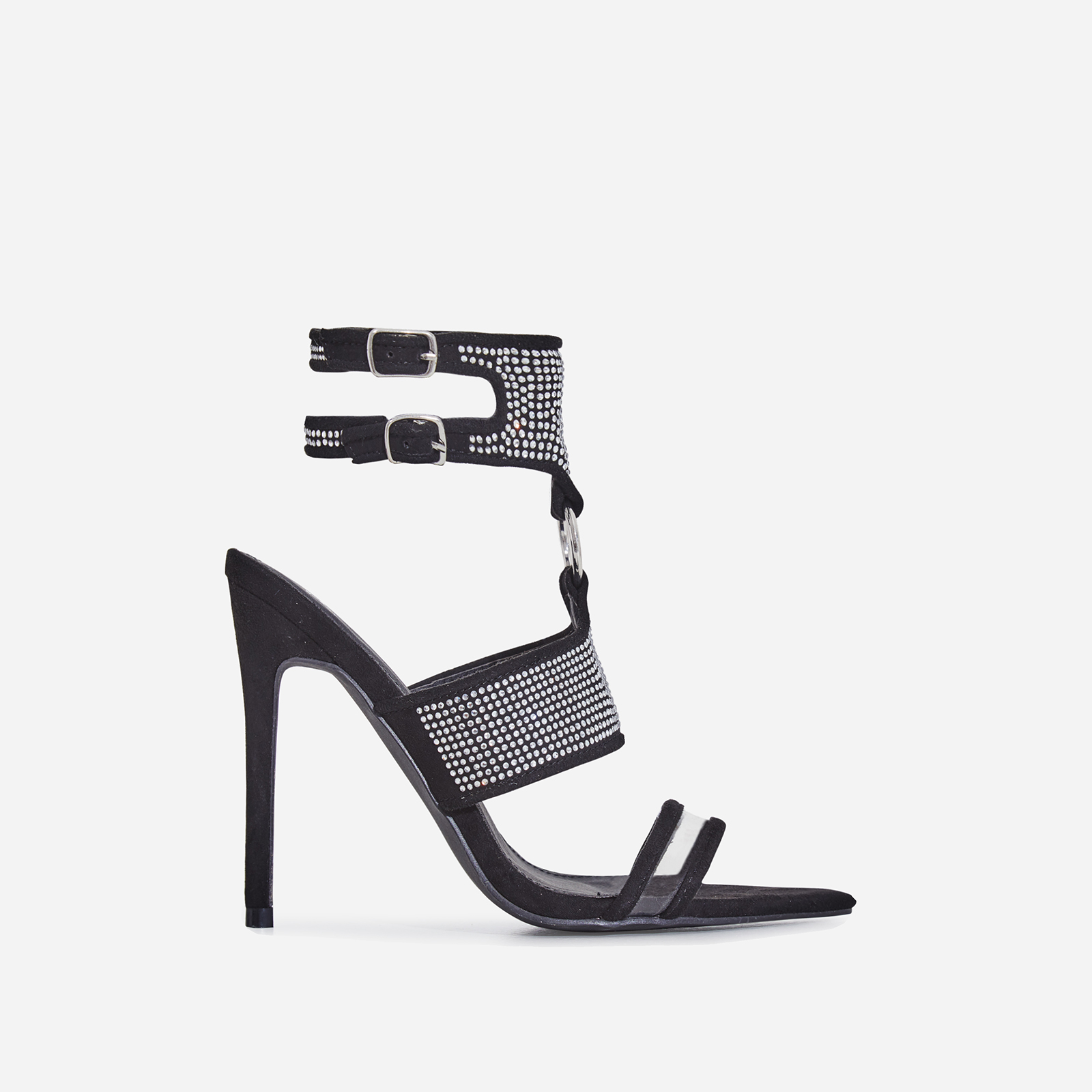 Lex Diamante Perspex Cage Heel In Black Faux Suede