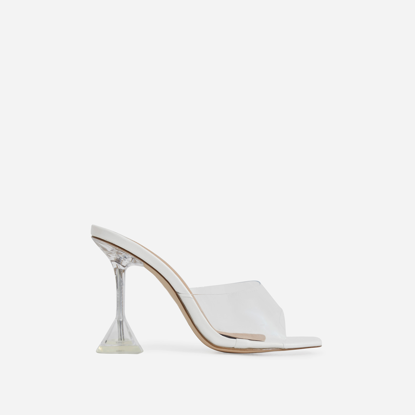 Lila Square Toe Perspex Heel Mule In White Faux Leather