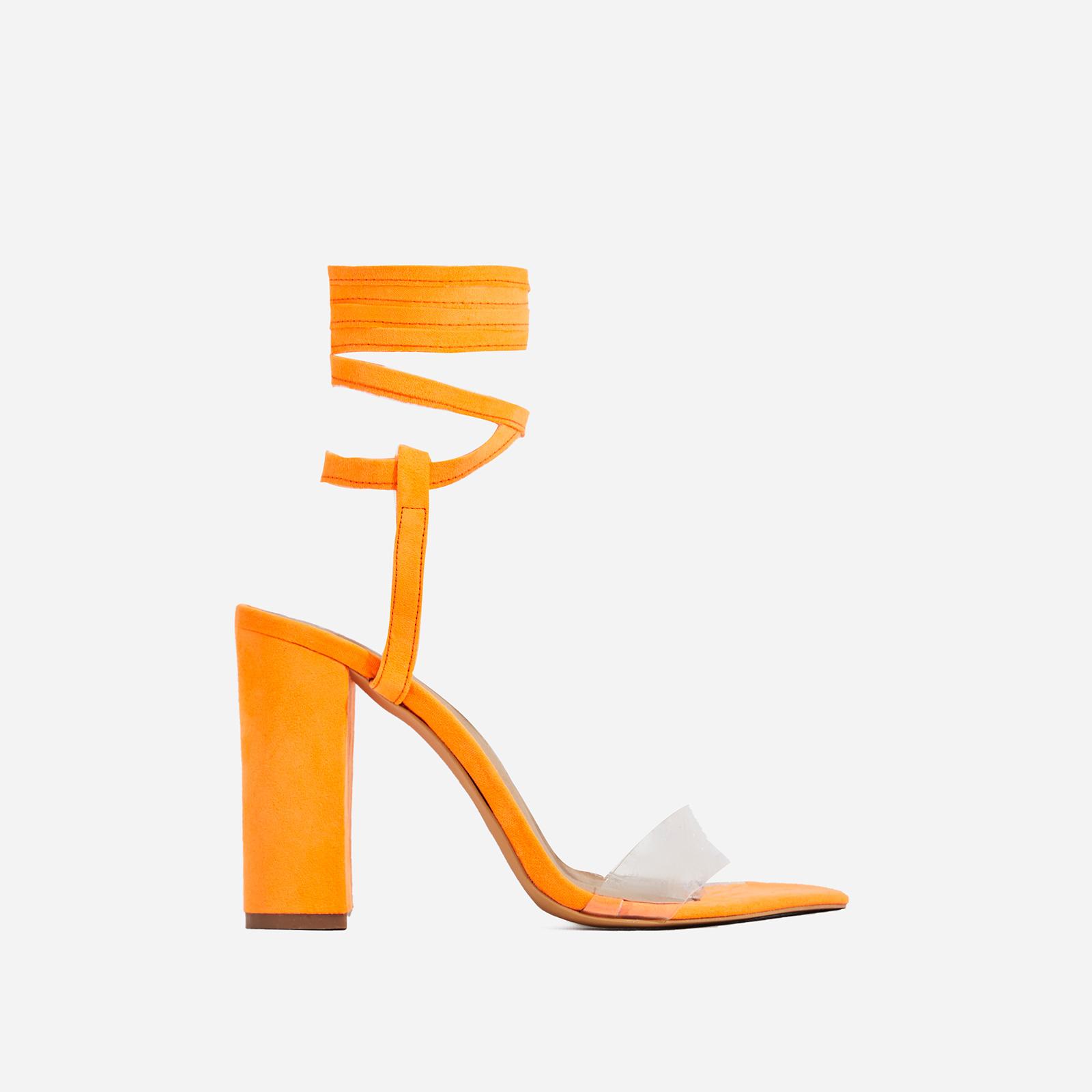 Monnie Lace Up Perspex Block Heel In Neon Orange Faux Suede