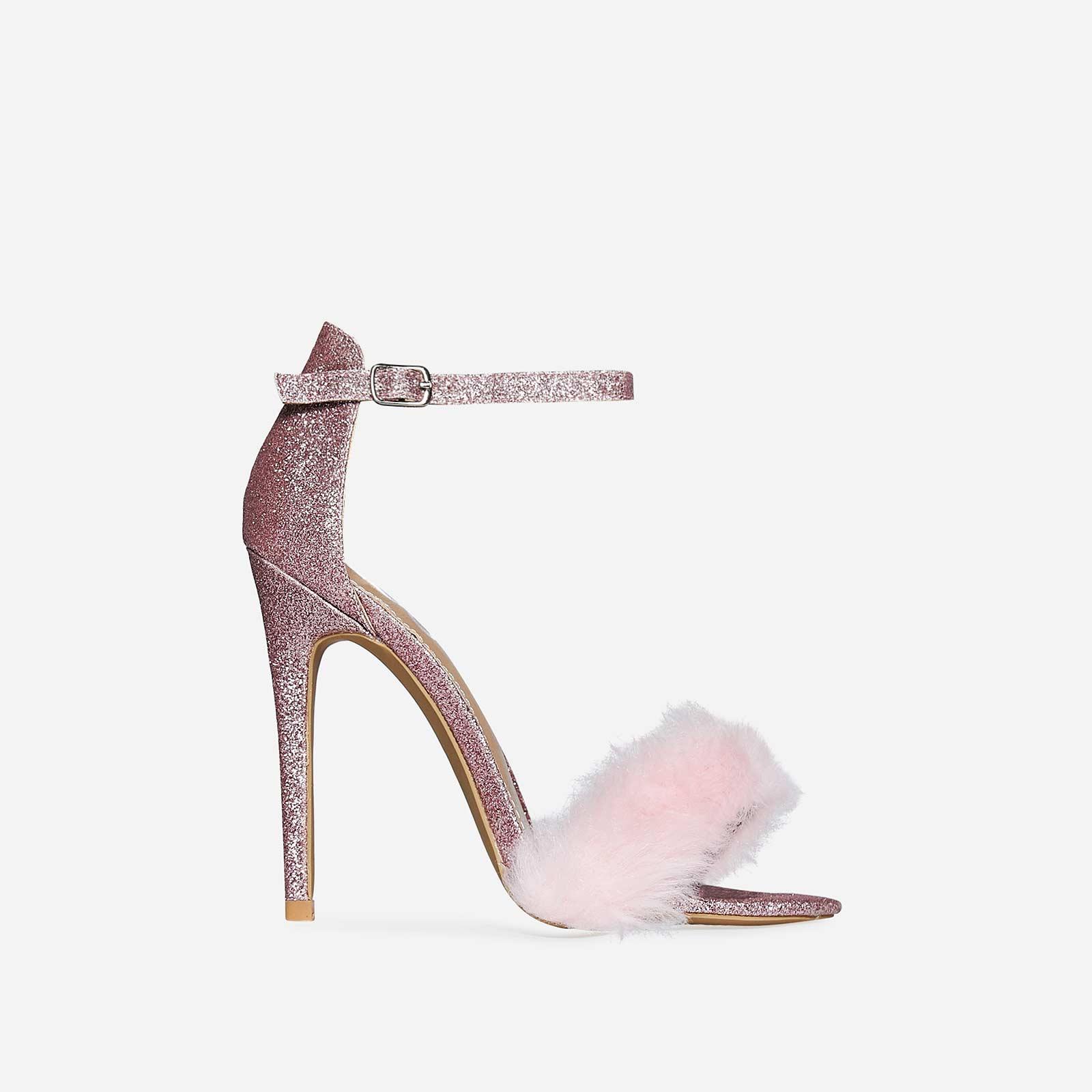 Lucia Faux Fur Heel In Pink Glitter