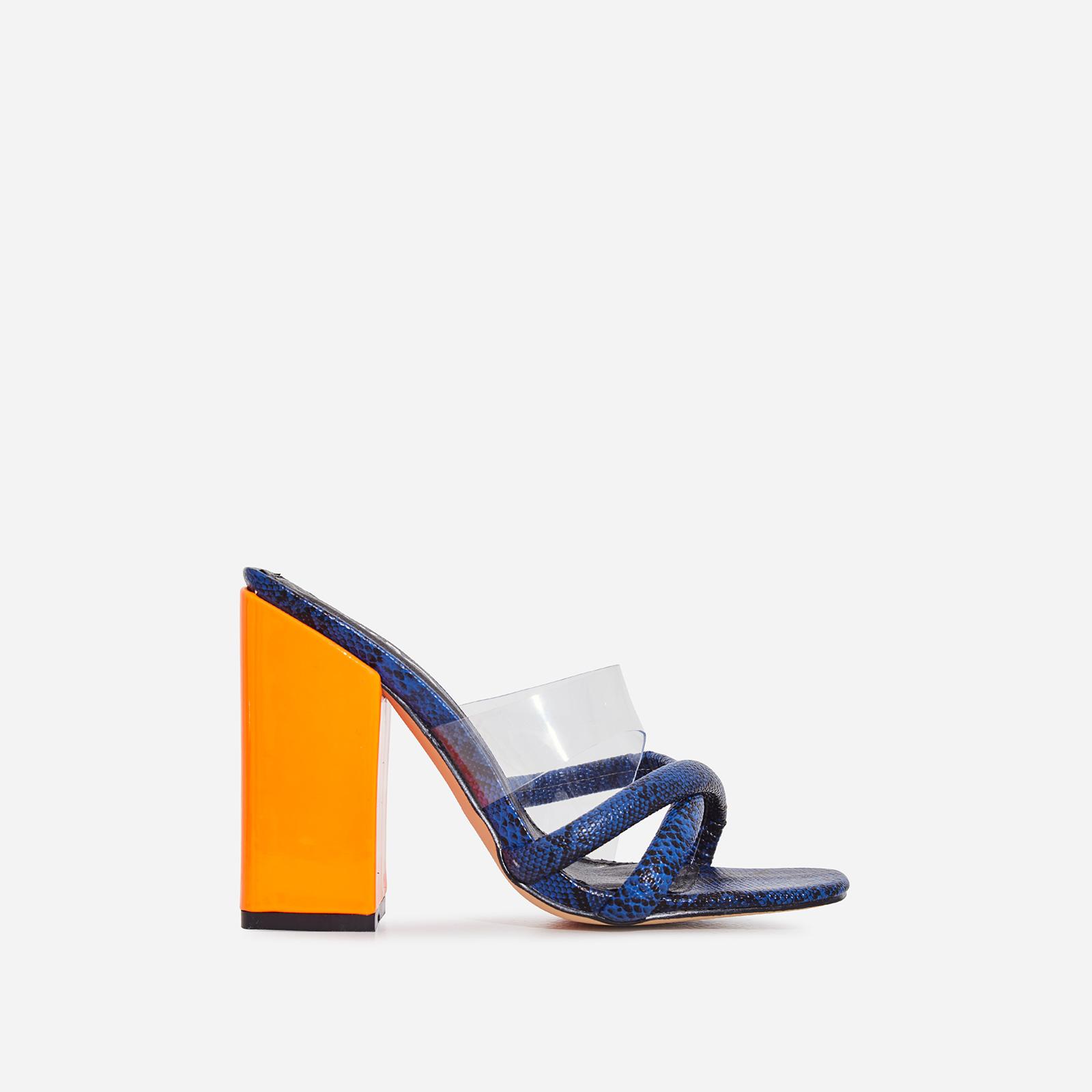 Lumi Square Toe Perspex Block Heel Mule In Blue Snake Print Faux Leather
