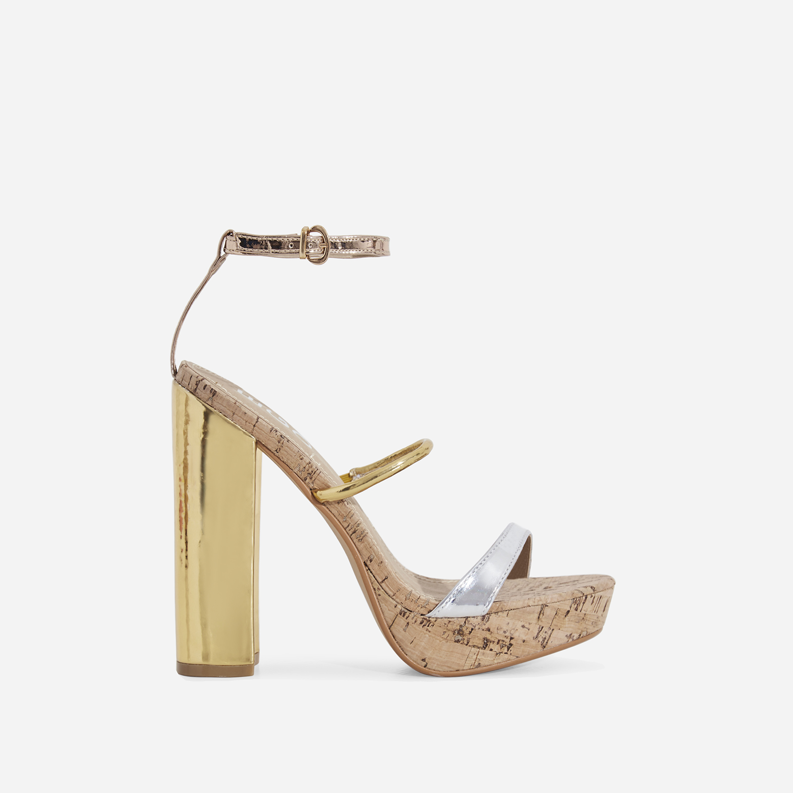 Lyric Cork Platform Heel In Metallic Faux Leather
