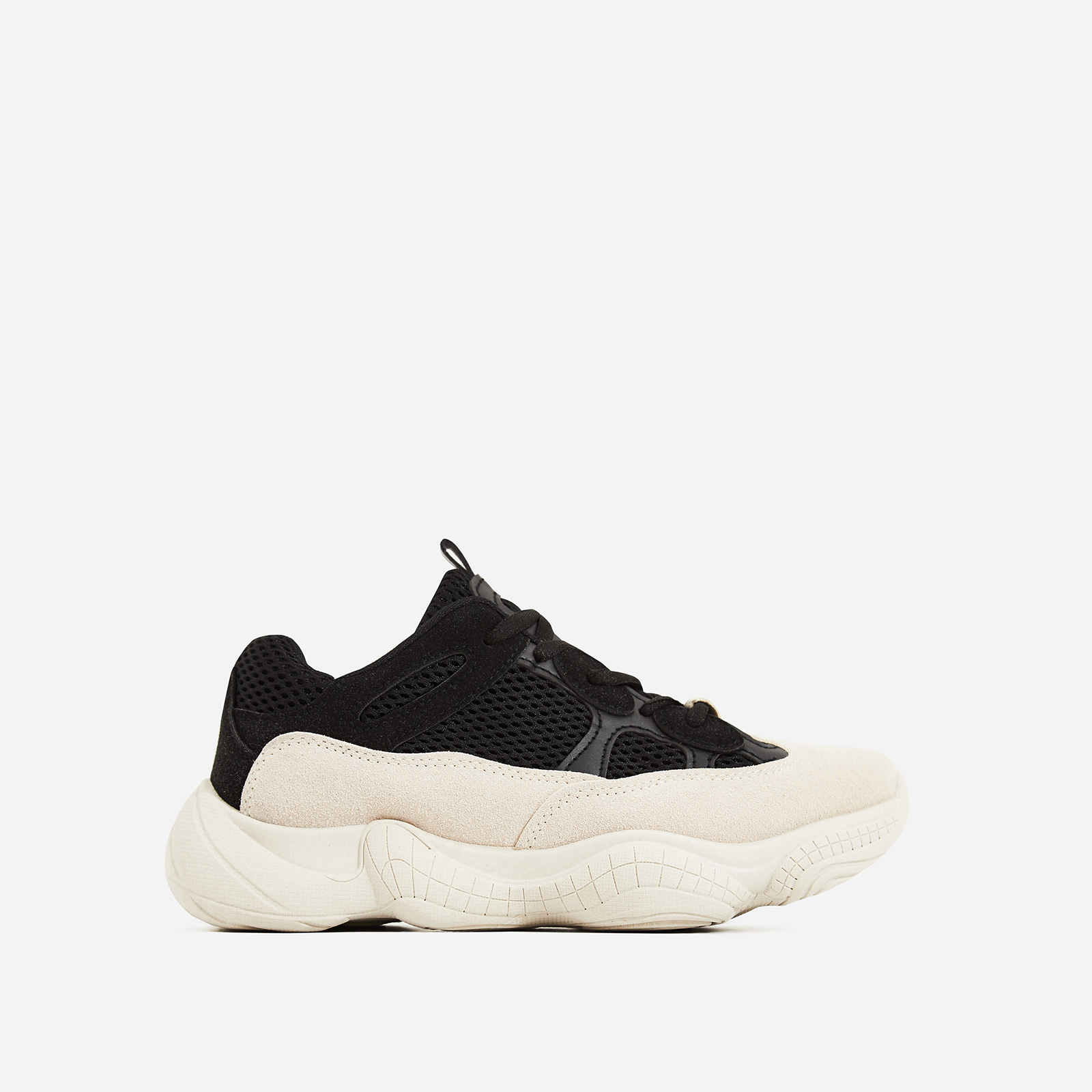 Kane Chunky Sole Mesh Trainer In Black and Nude Faux Suede