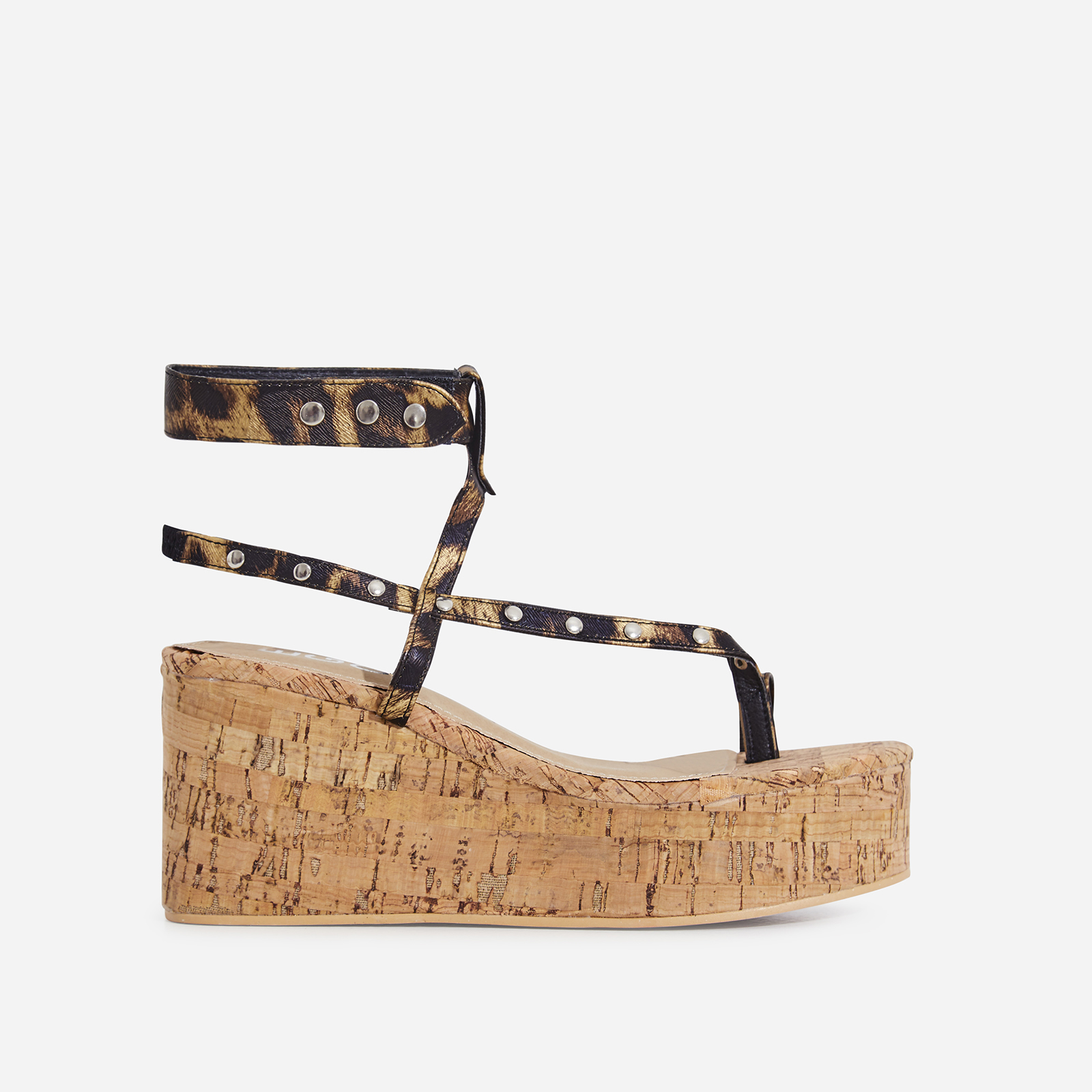 Magic Studded Detail Wedge Sandal In Tan Leopard Print Faux Leather