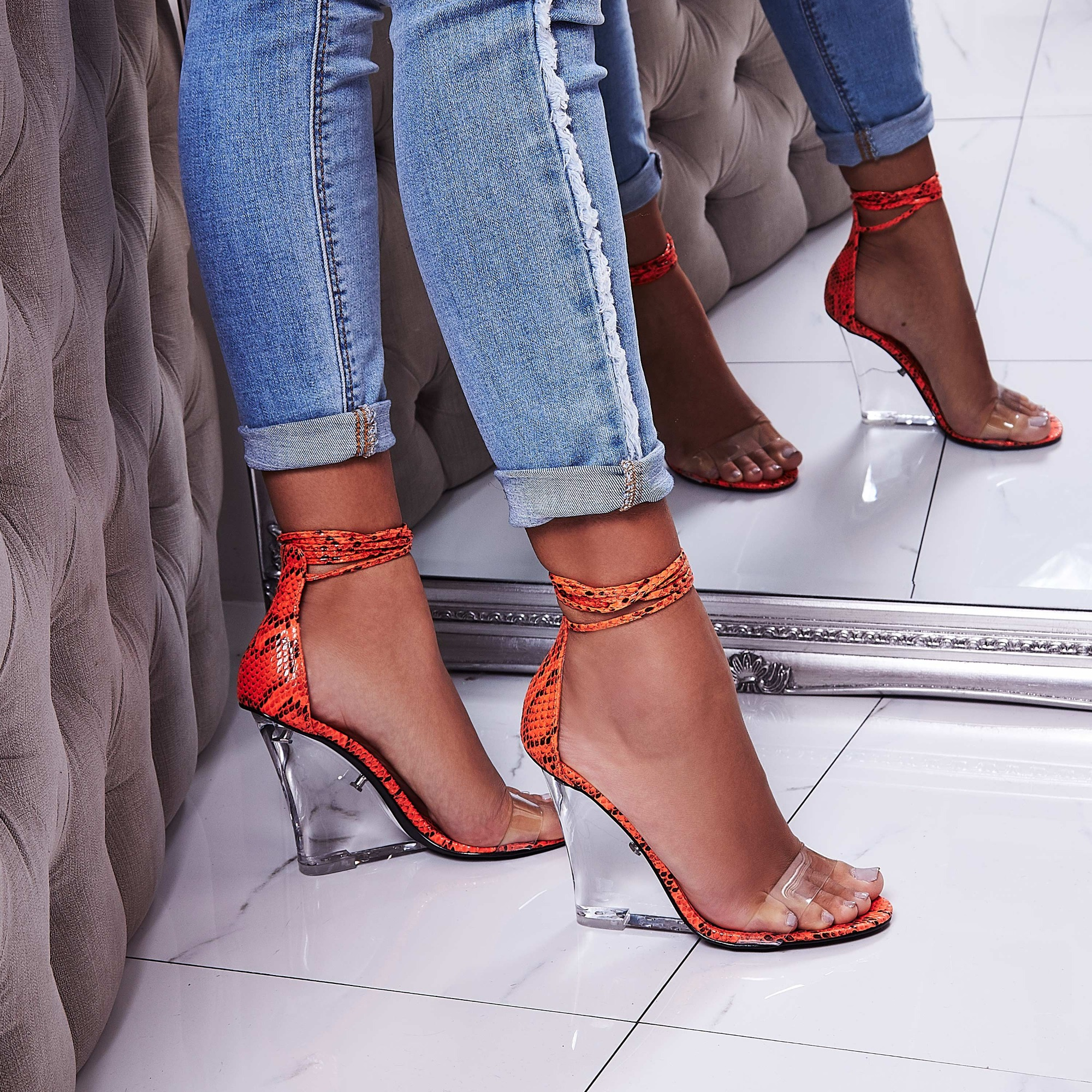 Magnetic Lace Up Perspex Wedge Heel In Orange Snake Print Faux Leather