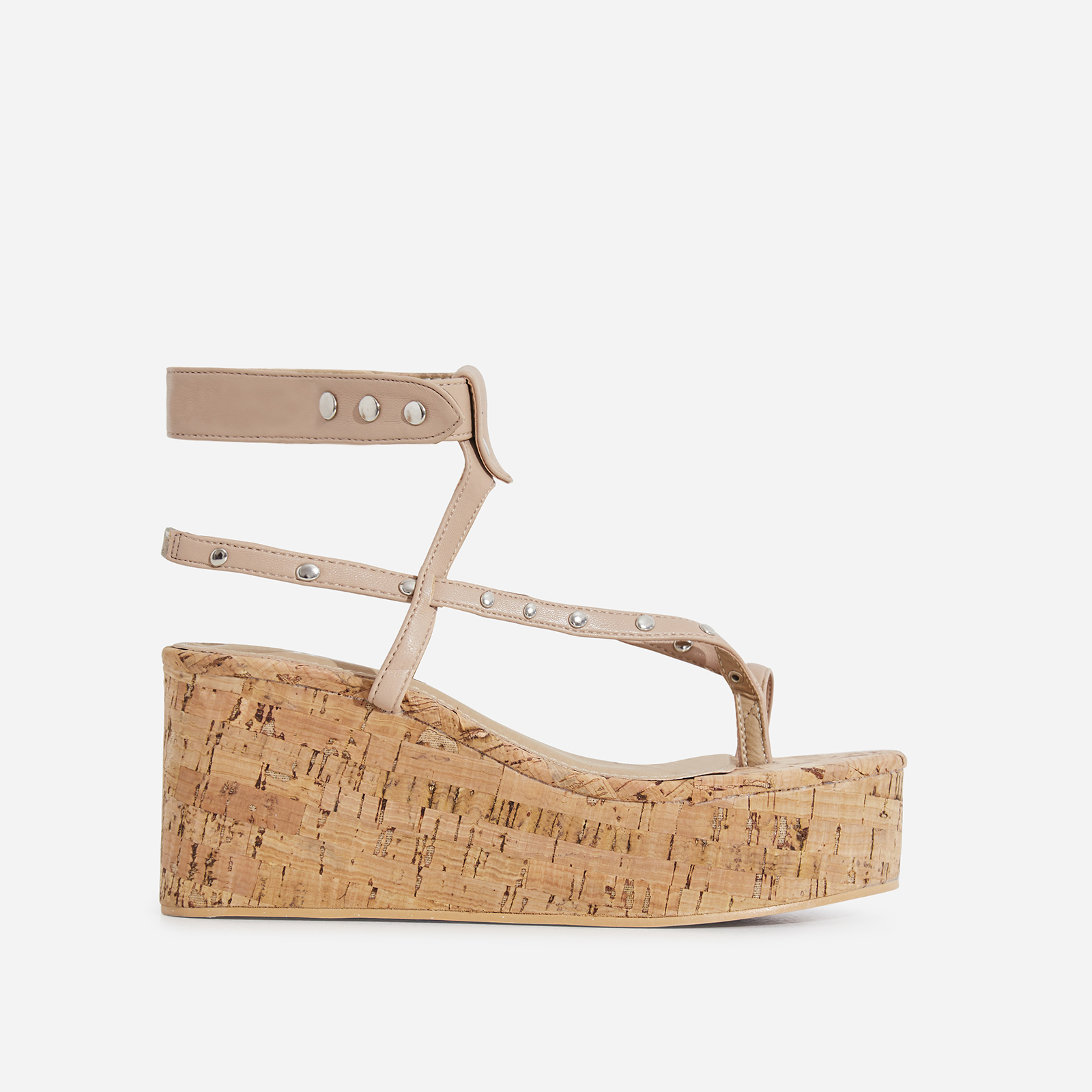 Magic Studded Detail Wedge Sandal In Nude Faux Leather
