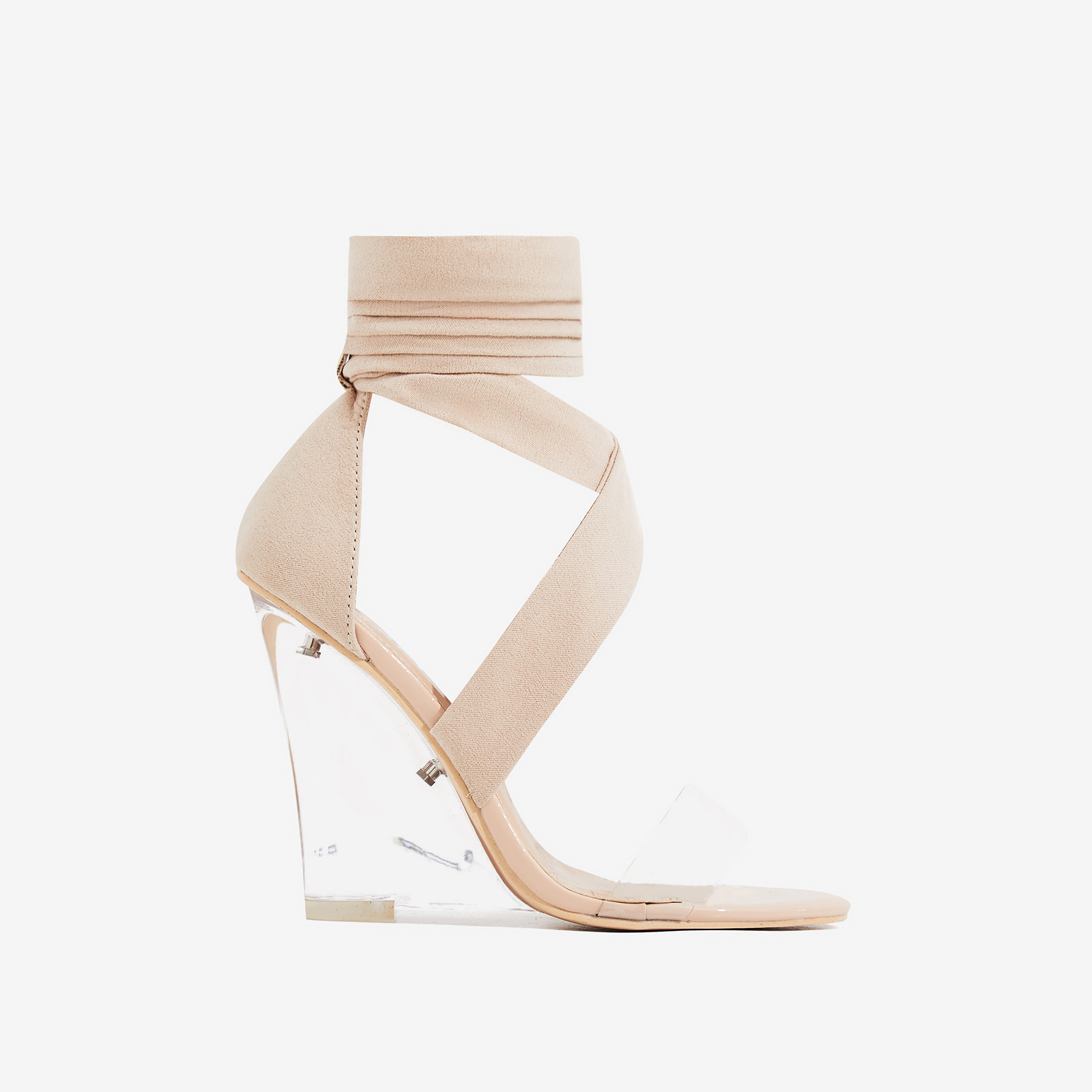Mai Perspex Wedge Lace Up Heel In Nude Faux Suede