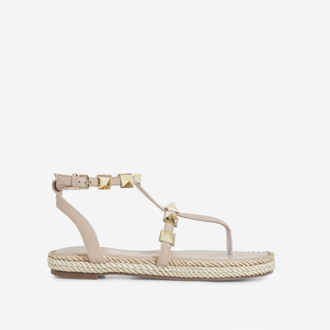 Maisie Studded Detail Rope Espadrille In Nude Faux Leather