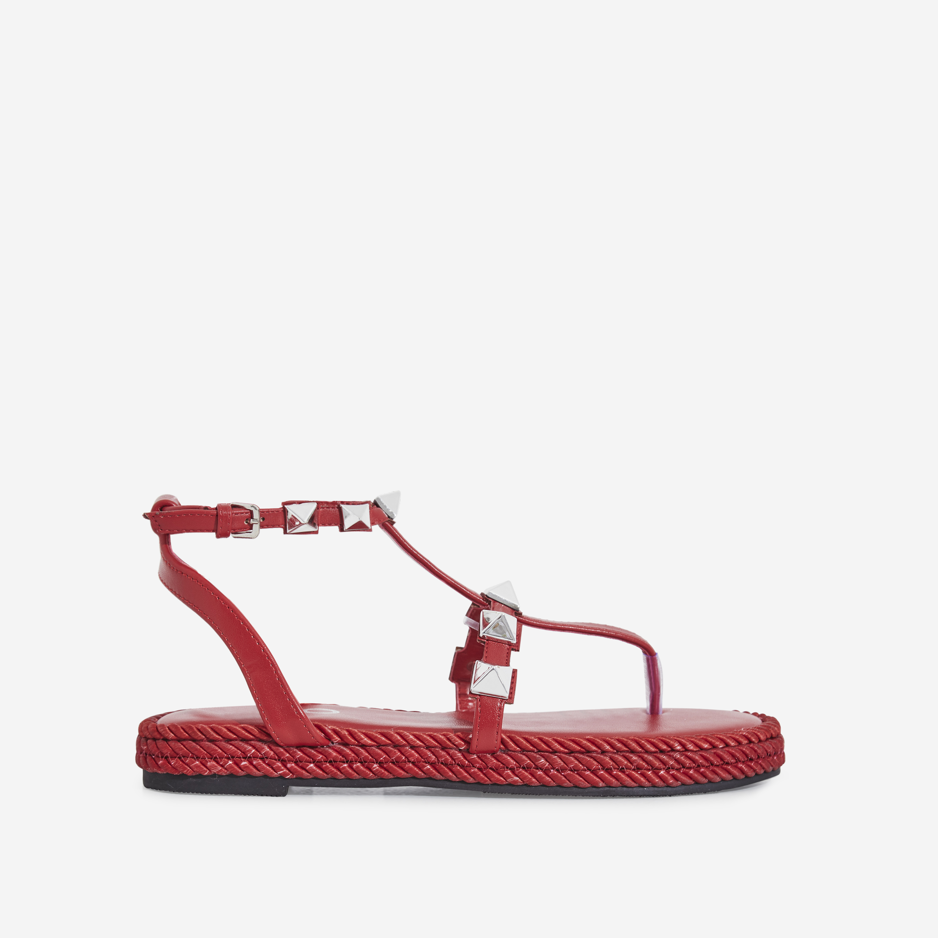 Maisie Studded Detail Rope Espadrille In Red Faux Leather