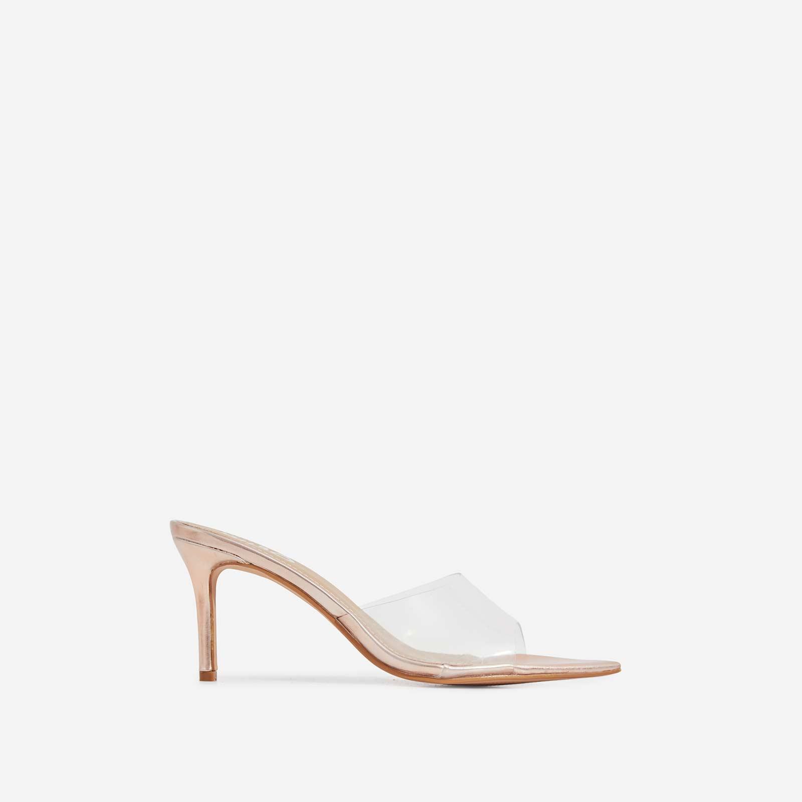 Maelle Pointed Peep Toe Perspex Heel Mule In Rose Gold Faux Leather