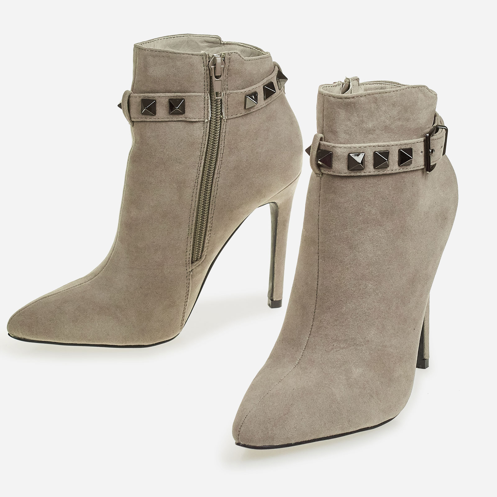 Danni Studded Detail Ankle Boot In Grey Faux Suede