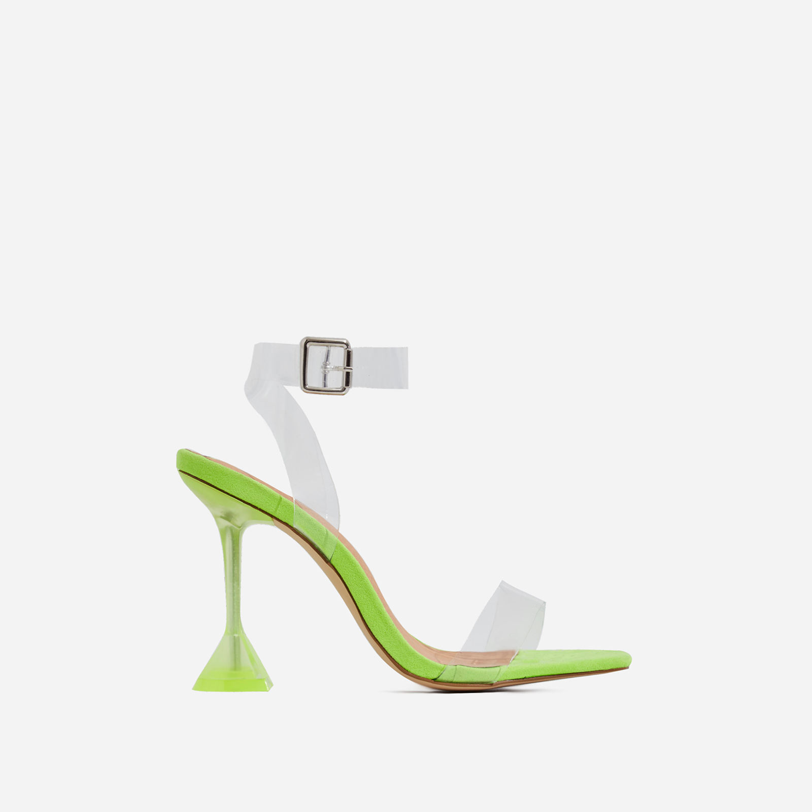 Marca Barely There Square Toe Perspex Heel In Lime Green Faux Suede