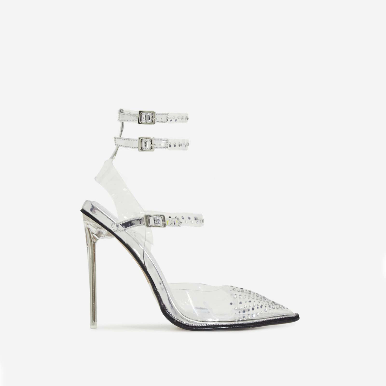 Margarita Diamante Details Perspex Heel In Silver Faux Leather
