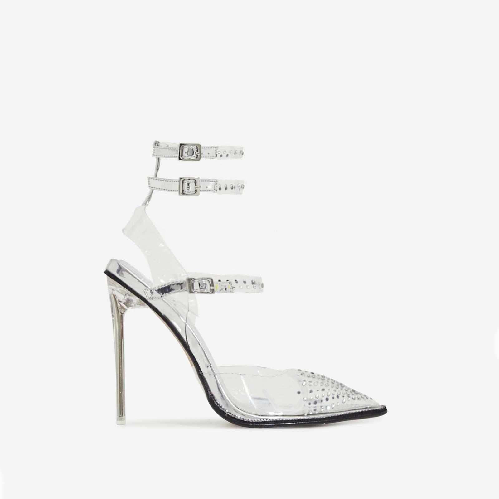 Margarita Diamante Details Perspex Heel In Silver Faux Leather