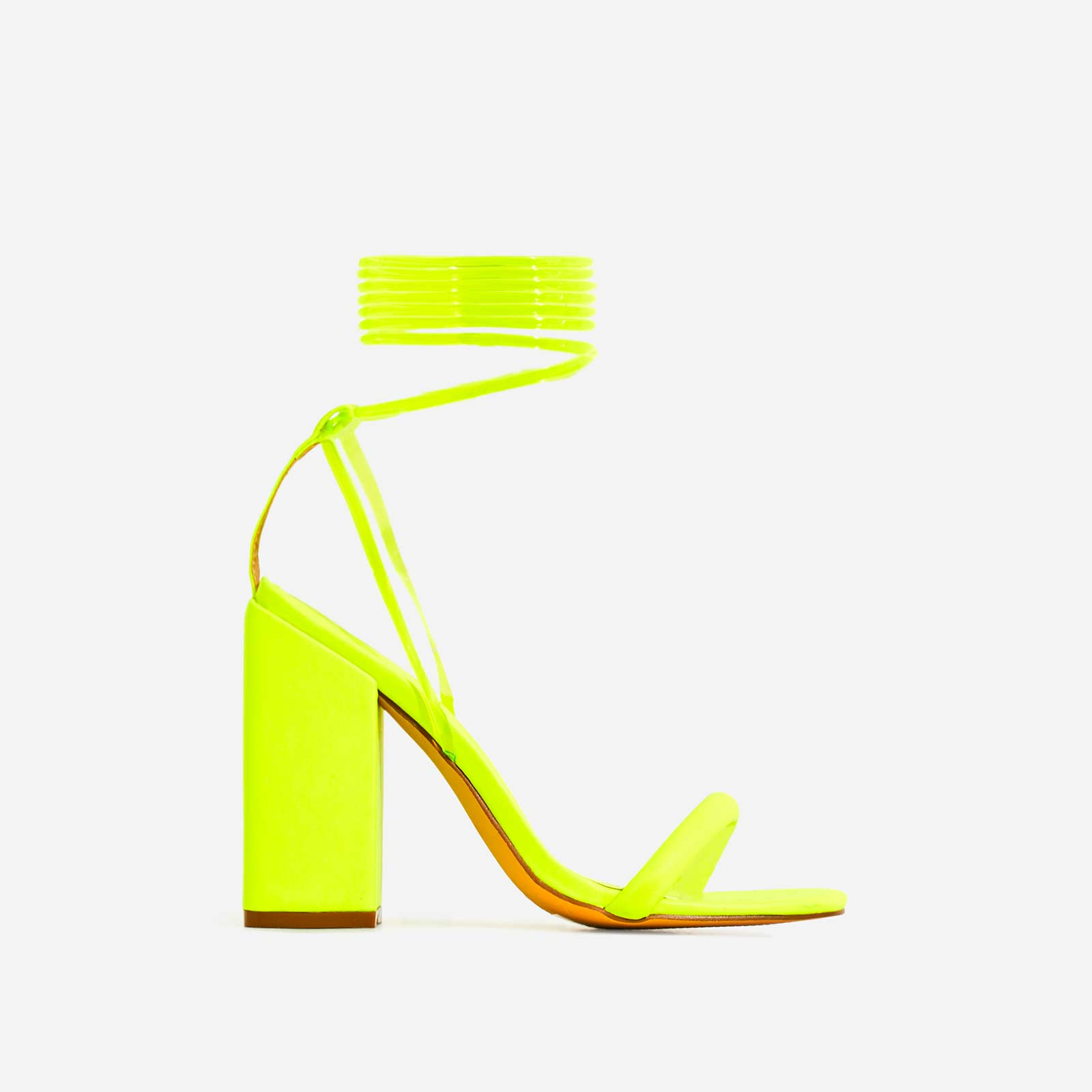 Mariah Perspex Square Toe Lace Up Block Heel In Lime Green Faux Leather