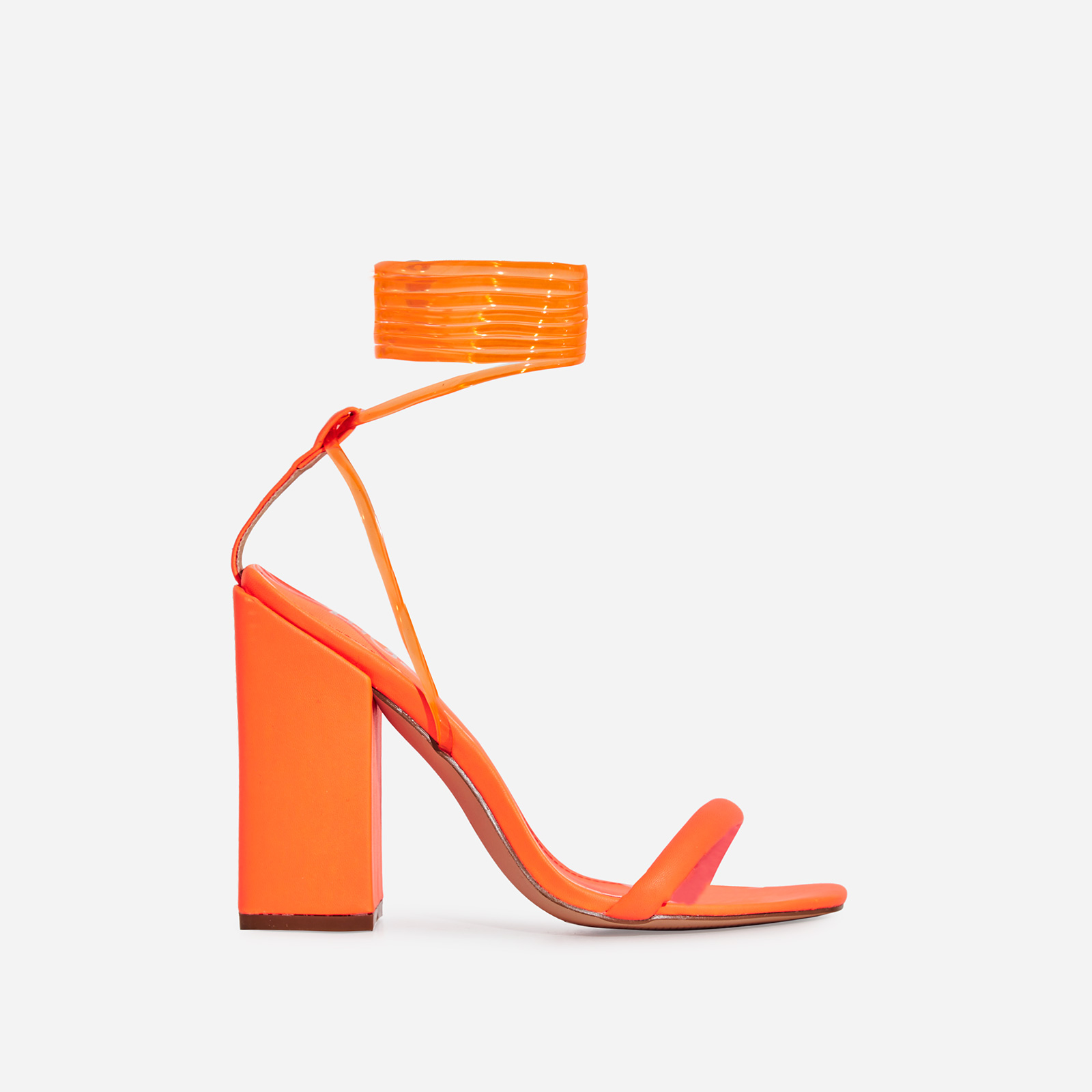Mariah Perspex Square Toe Lace Up Block Heel In Neon Orange Faux Leather