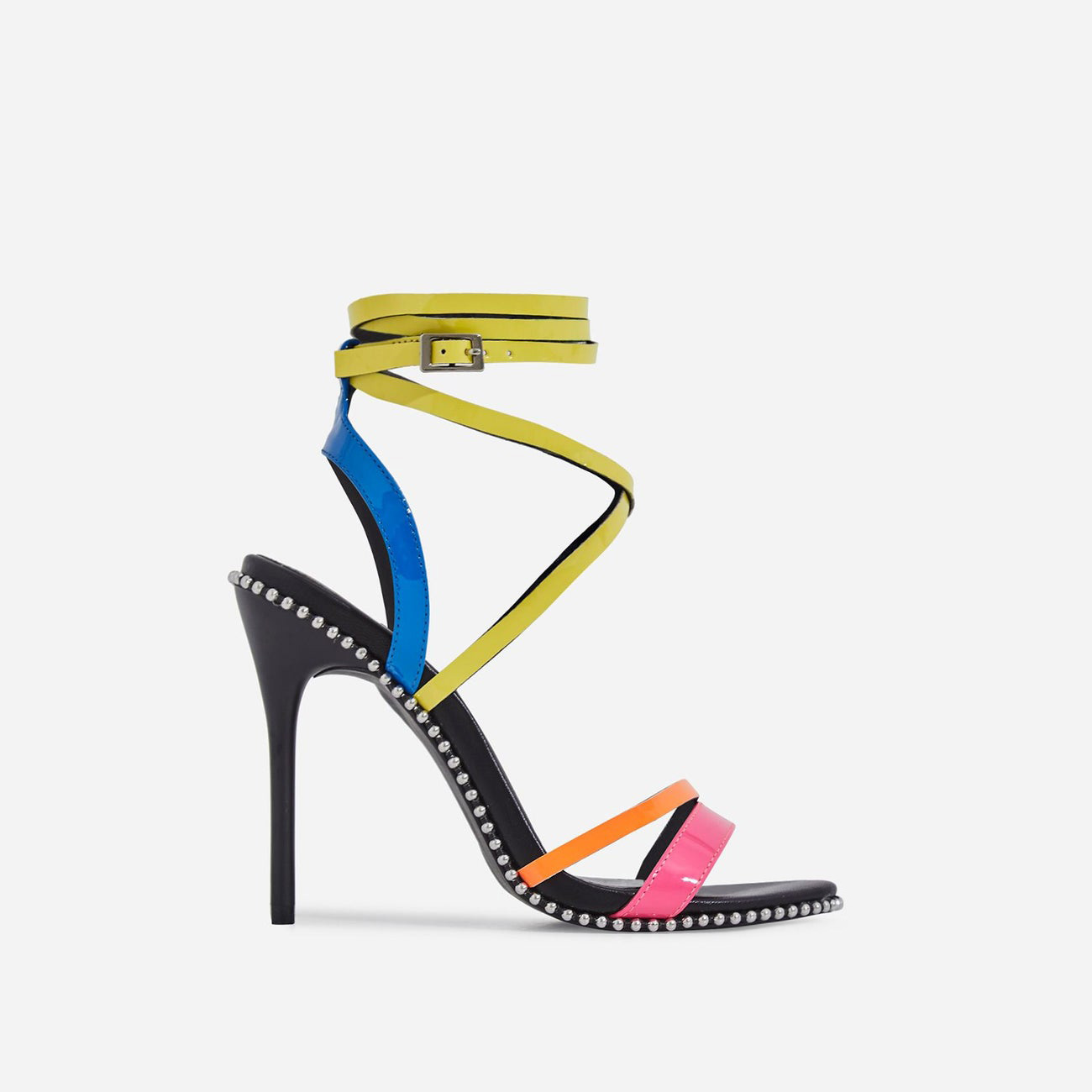 Marisa Studded Detail Lace Up Heel In Neon Multi Colour Patent