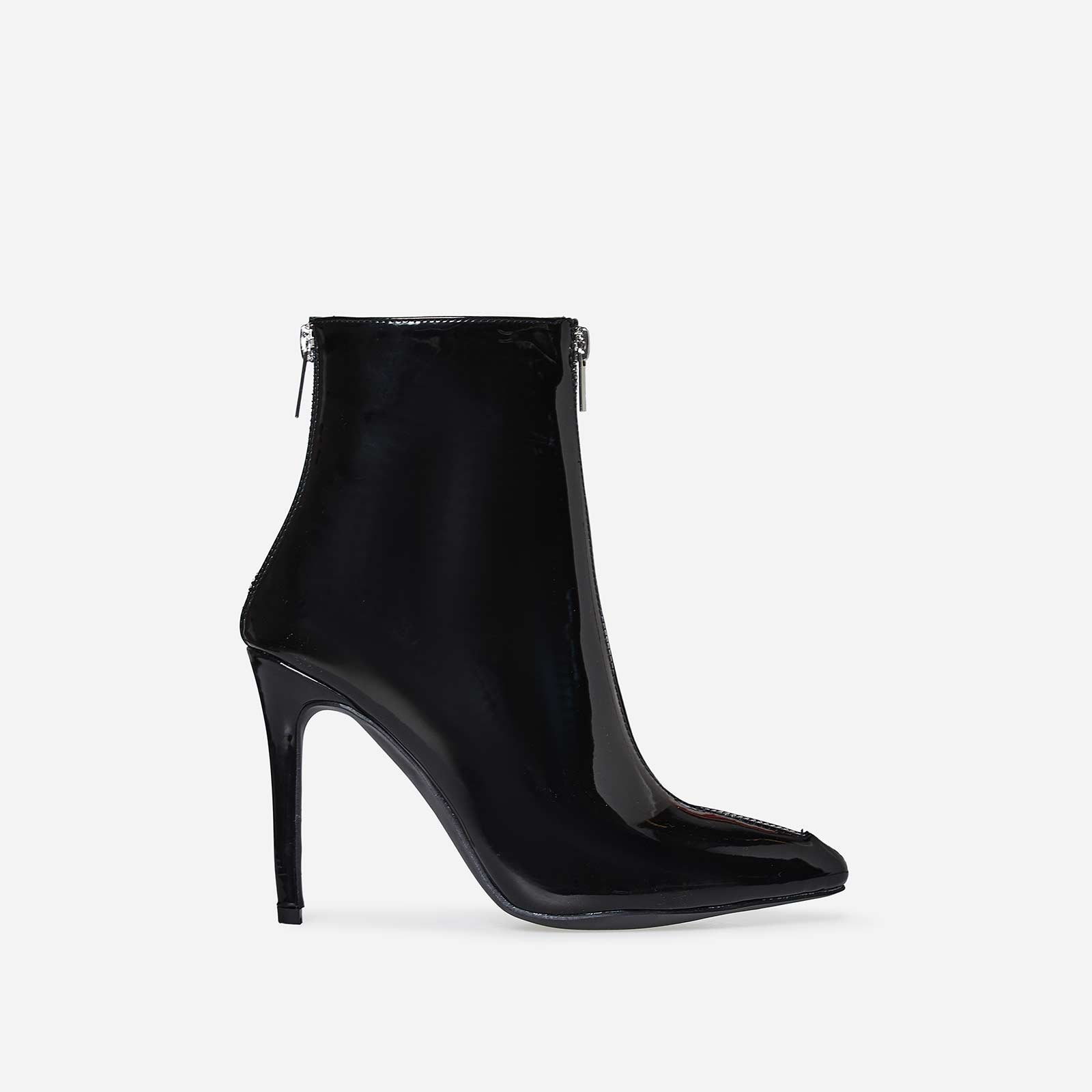 Maxwell Double Zip Detail Ankle Boot In Black Patent