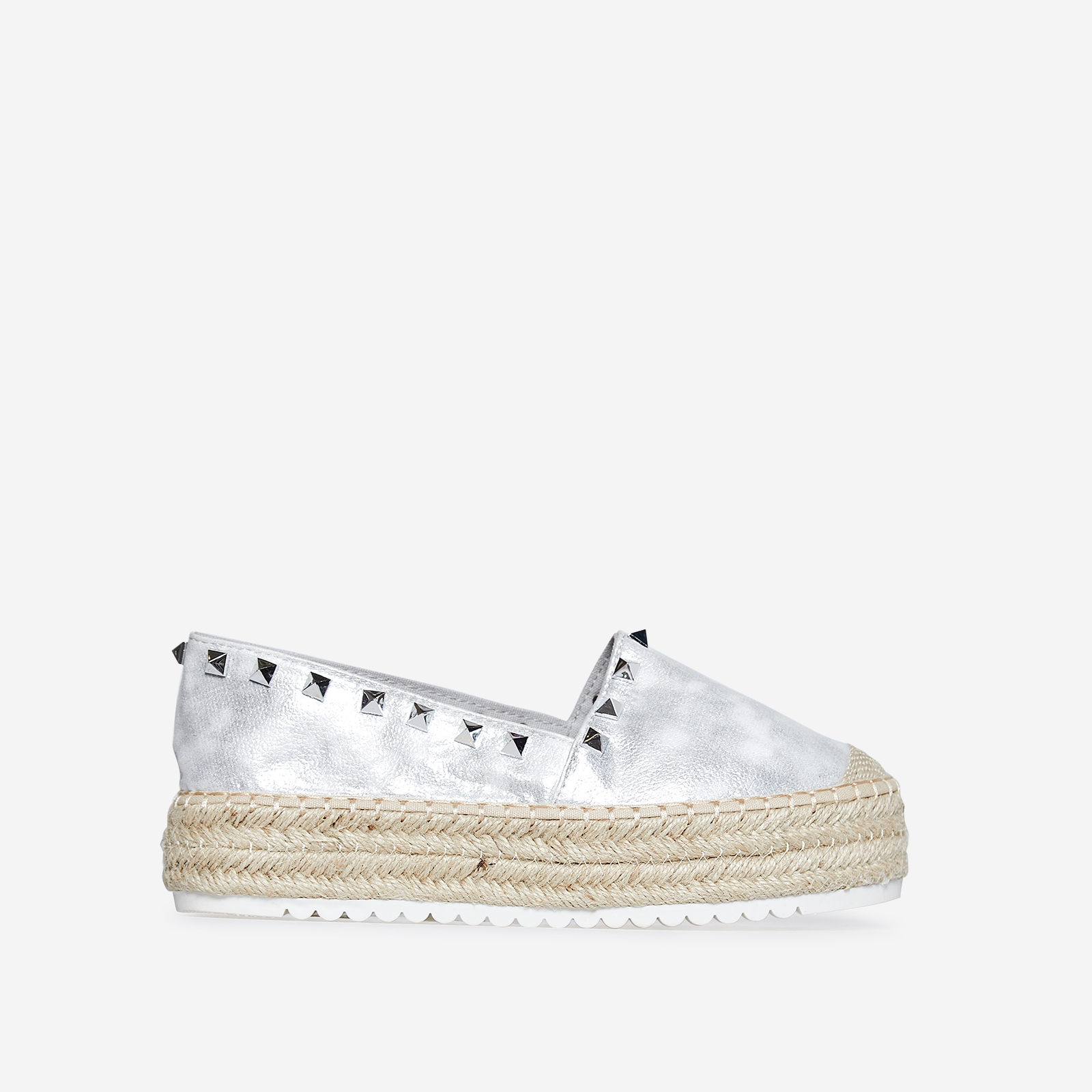 Franca Studded Detail Flatform Espadrille In Silver Faux Leather
