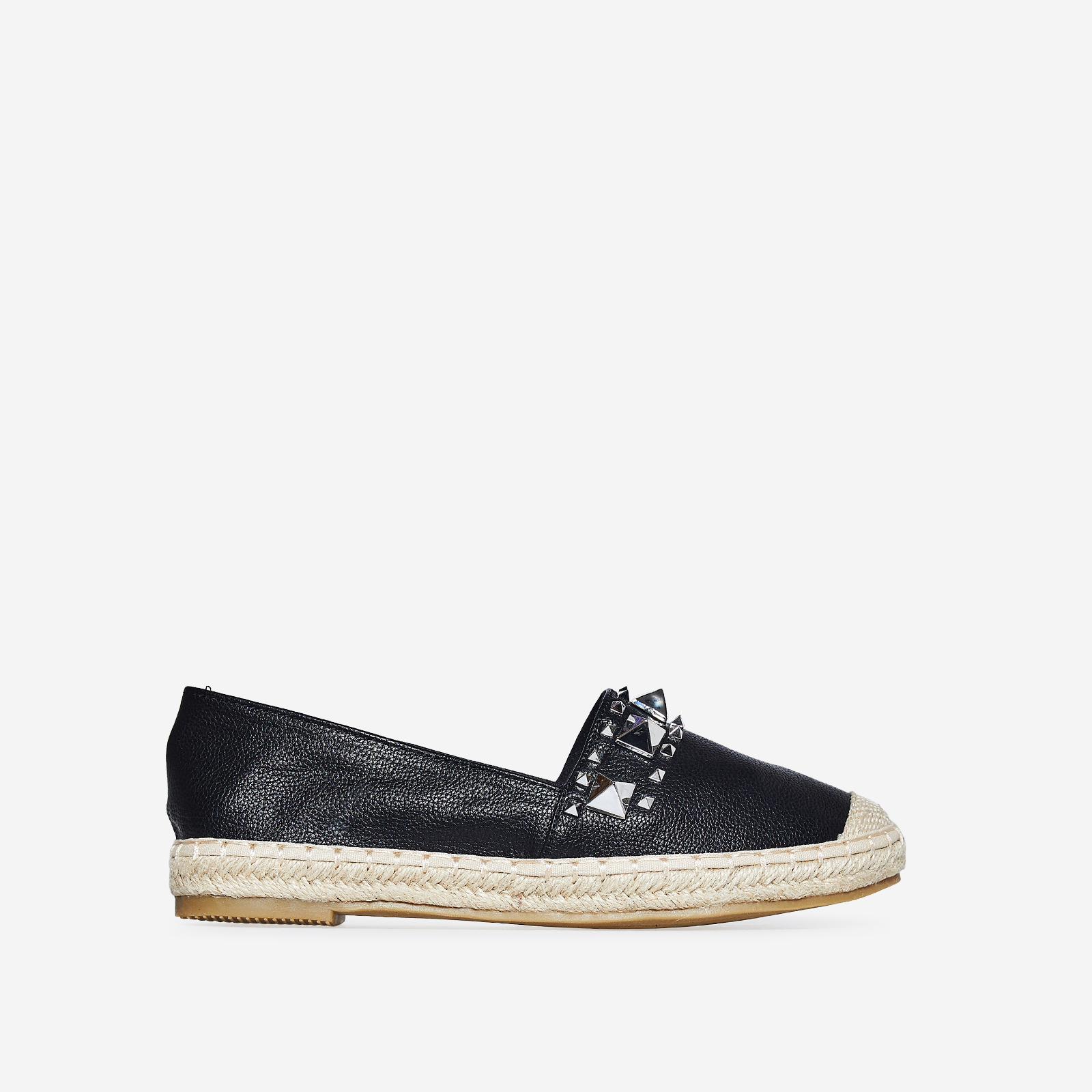 Lia Studded Detail Espadrille In Black Faux Leather