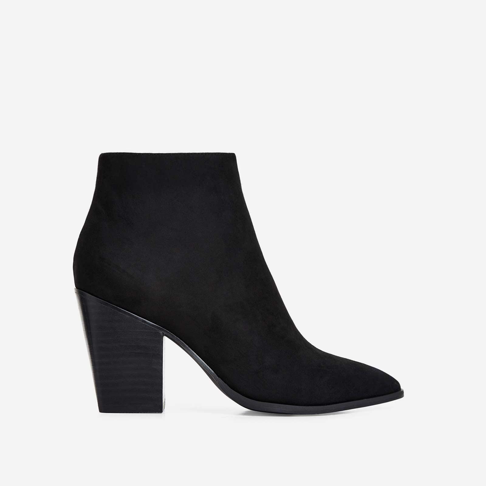 Megan Block Heel Ankle Boot In Black Faux Suede