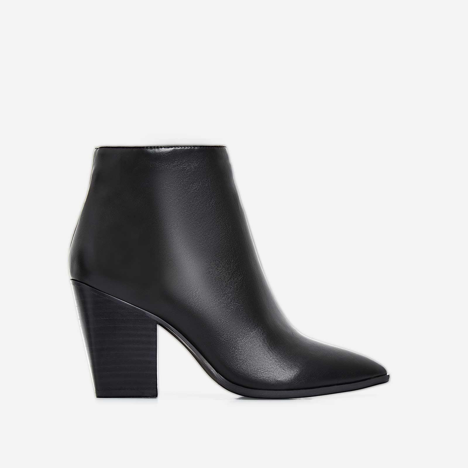 Megan Block Heel Ankle Boot In Black Faux Leather