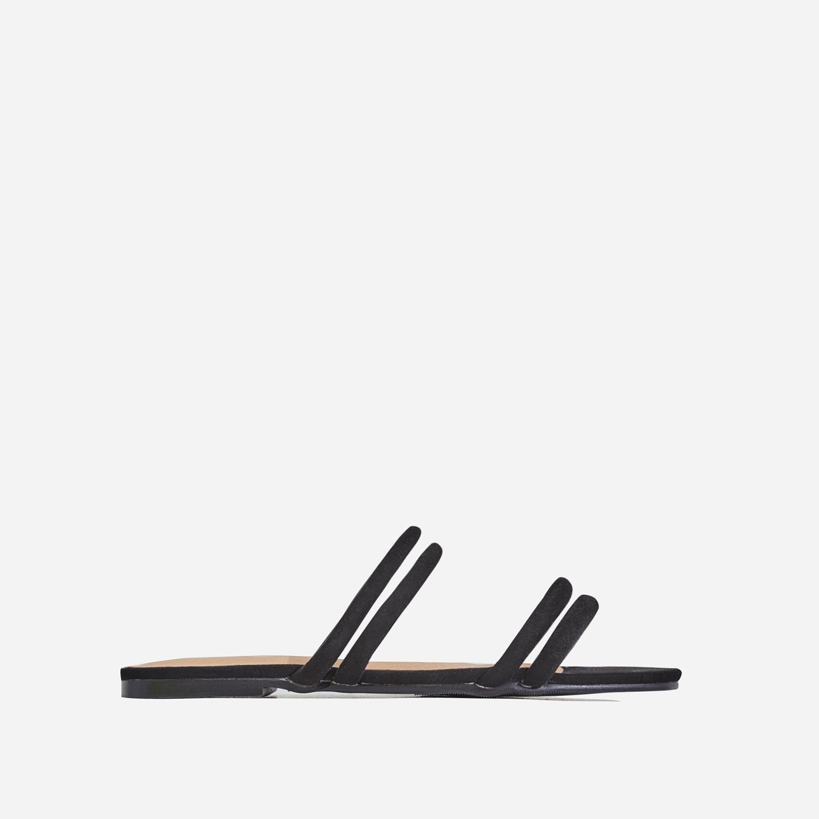 Mendez Flat Sandal In Black Faux Suede