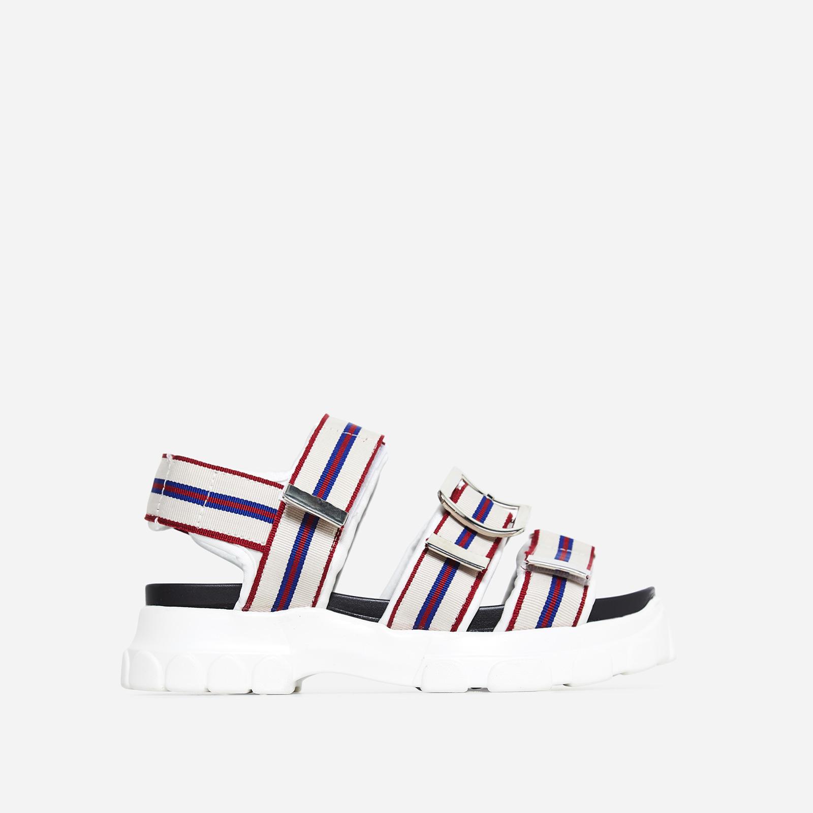 Mercy Black Sole Striped Chunky Sandal