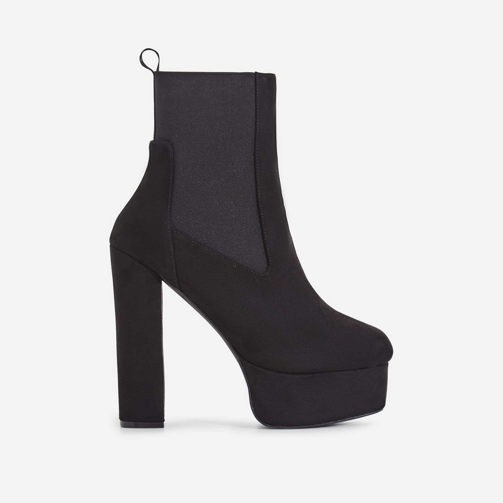 Harleen Square Toe Platform Ankle Biker Boot In Black Faux Suede