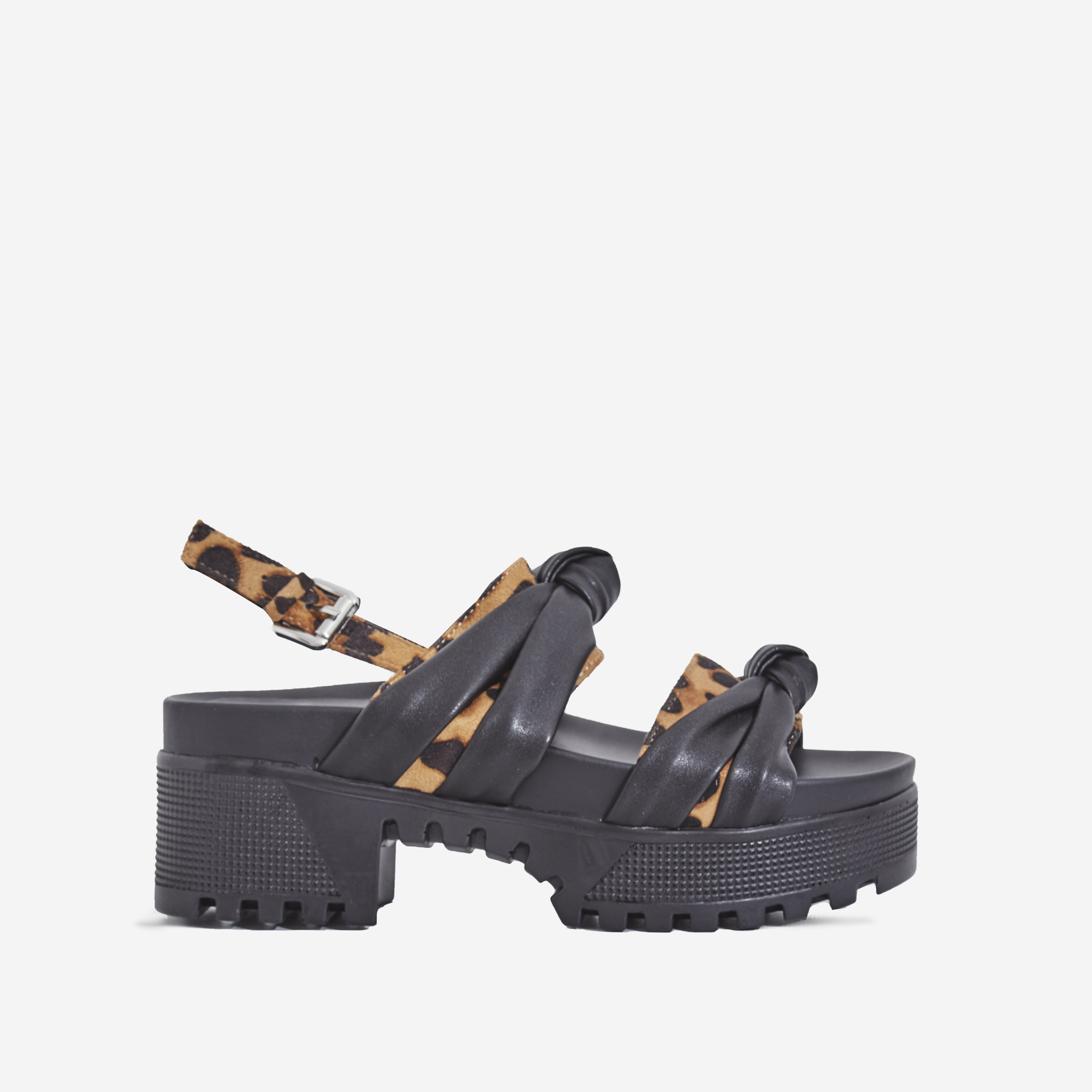 Micky Leopard Print Chunky Sole Sandal In Black Faux Leather