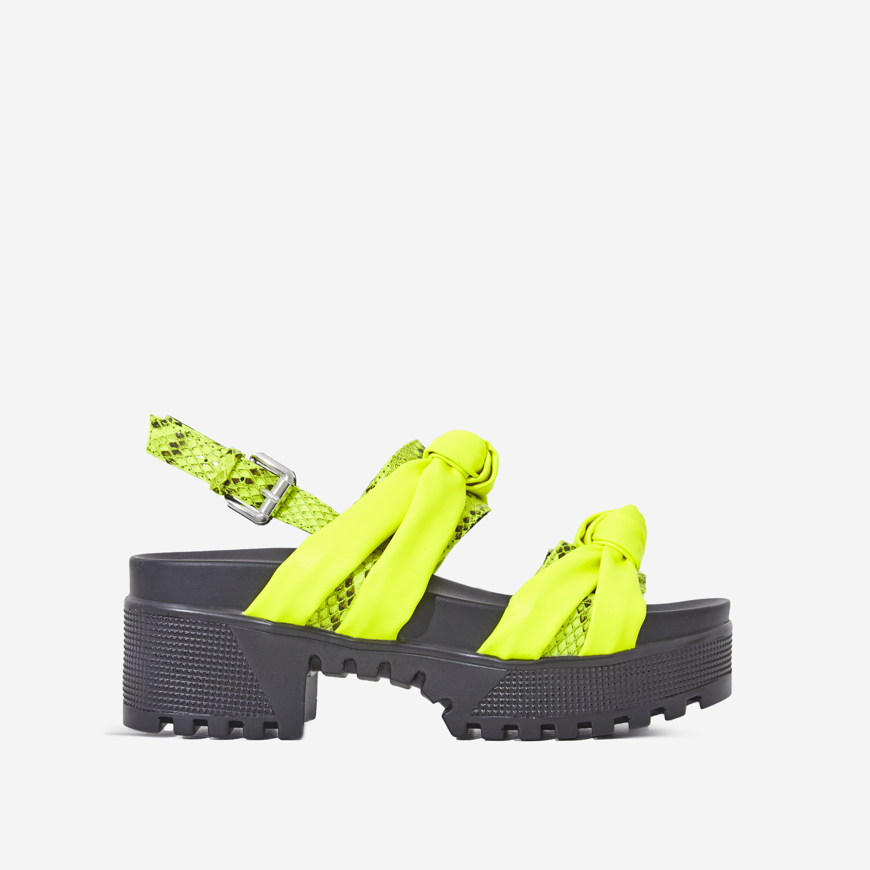 Micky Snake Print Detail Chunky Sole Sandal In Neon Green Faux Leather