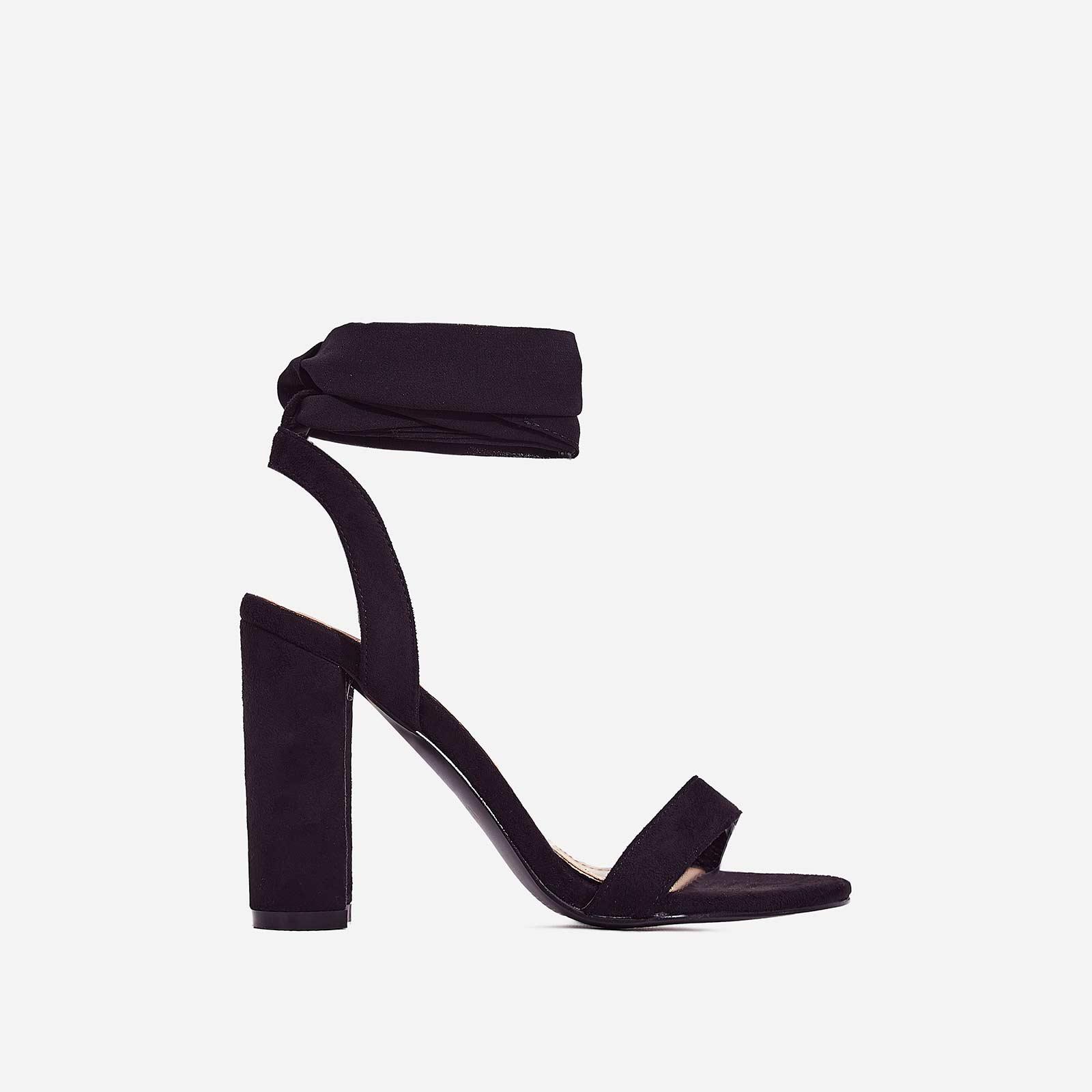 Milan Ribbon Lace Up Block Heel In Black Faux Suede