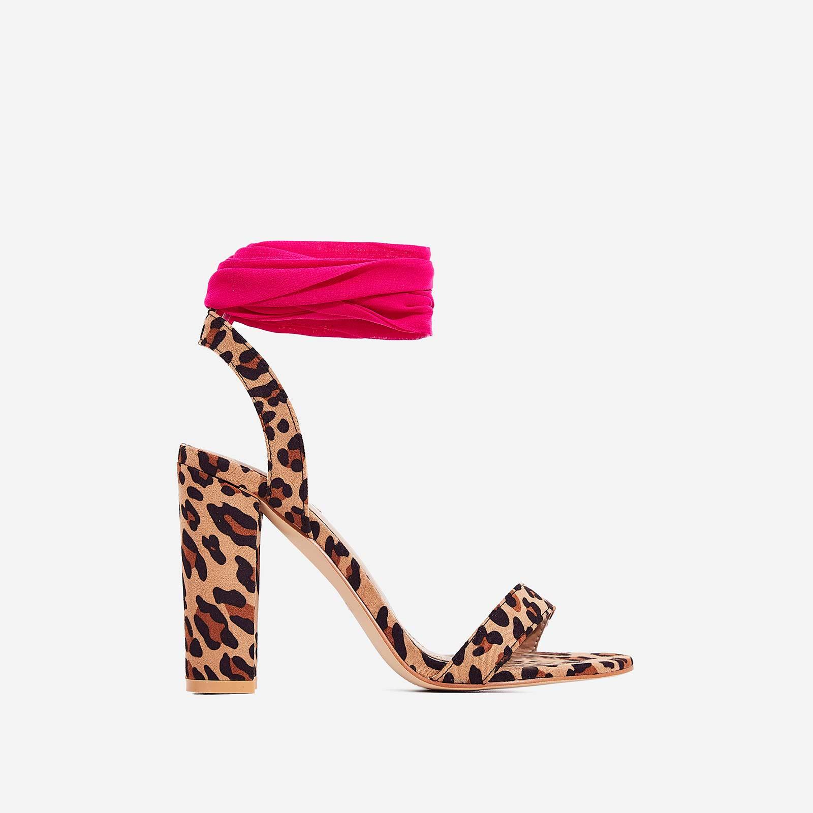 Milan Ribbon Lace Up Block Heel In Tan Leopard Print Faux Suede