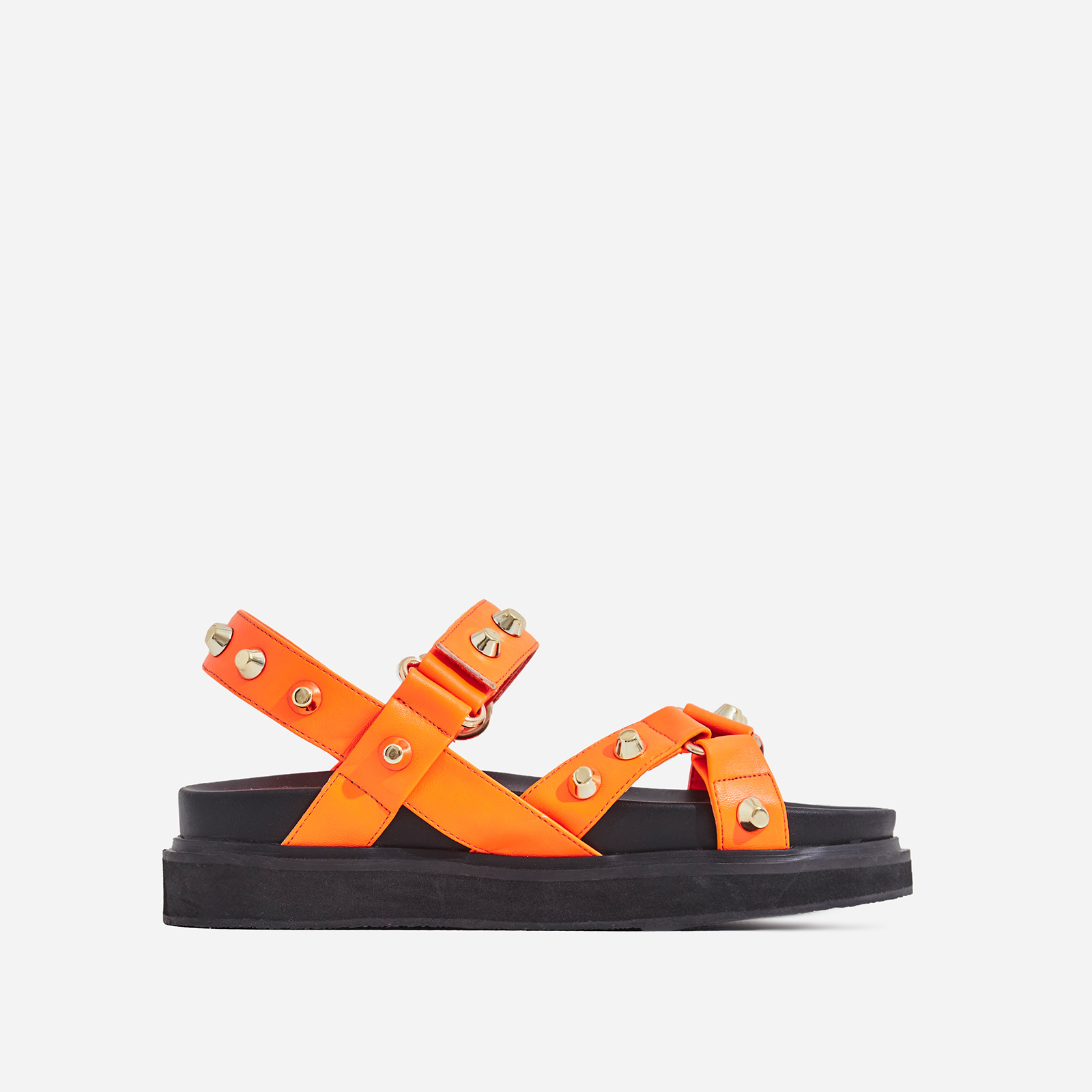 Mila Studded Detail Chunky Sole Sandal In Orange Faux Leather
