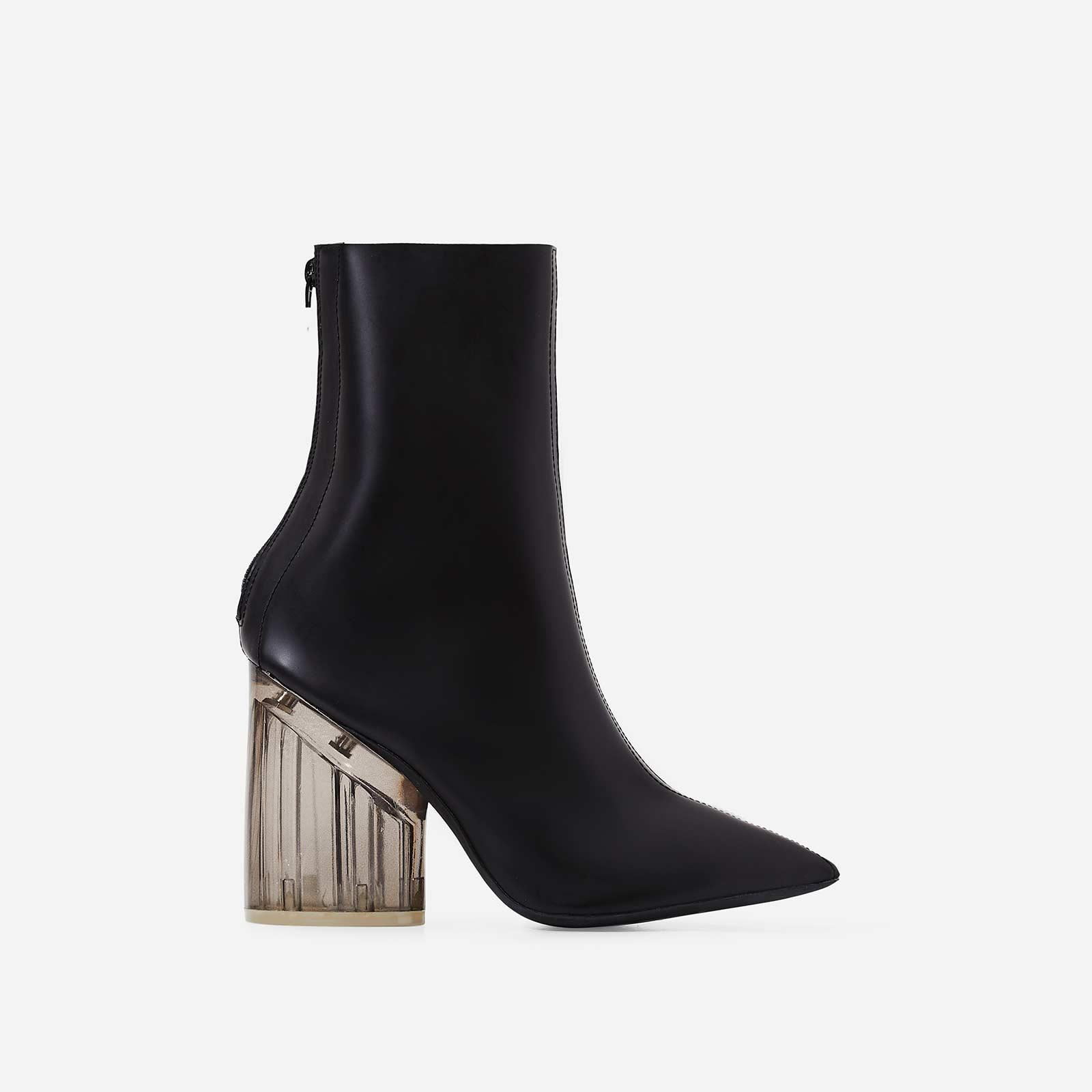 Mimi Perspex Block Heel Pointed Ankle Sock Boot In Matt Black