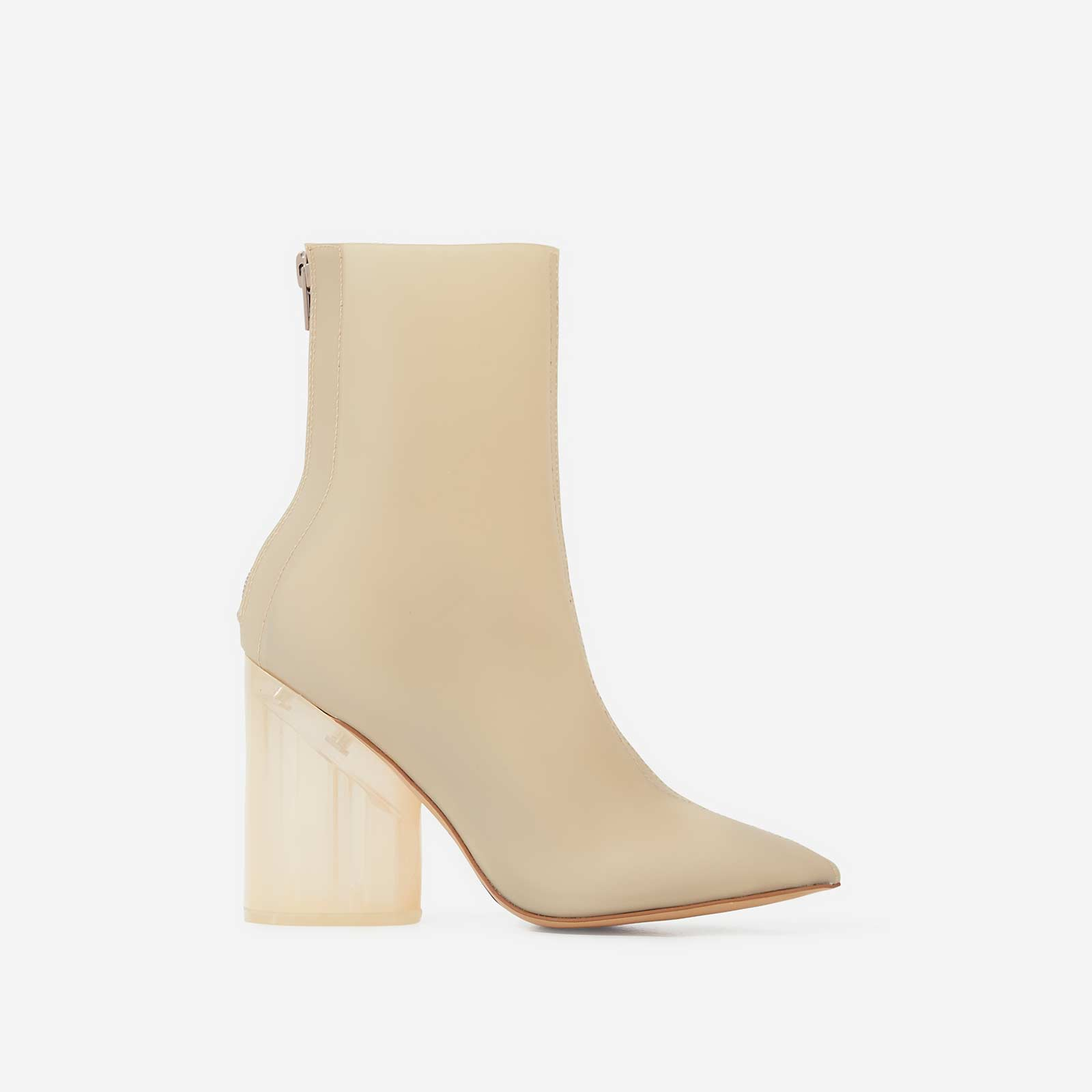 Mimi Perspex Block Heel Pointed Ankle Sock Boot In Matt Nude