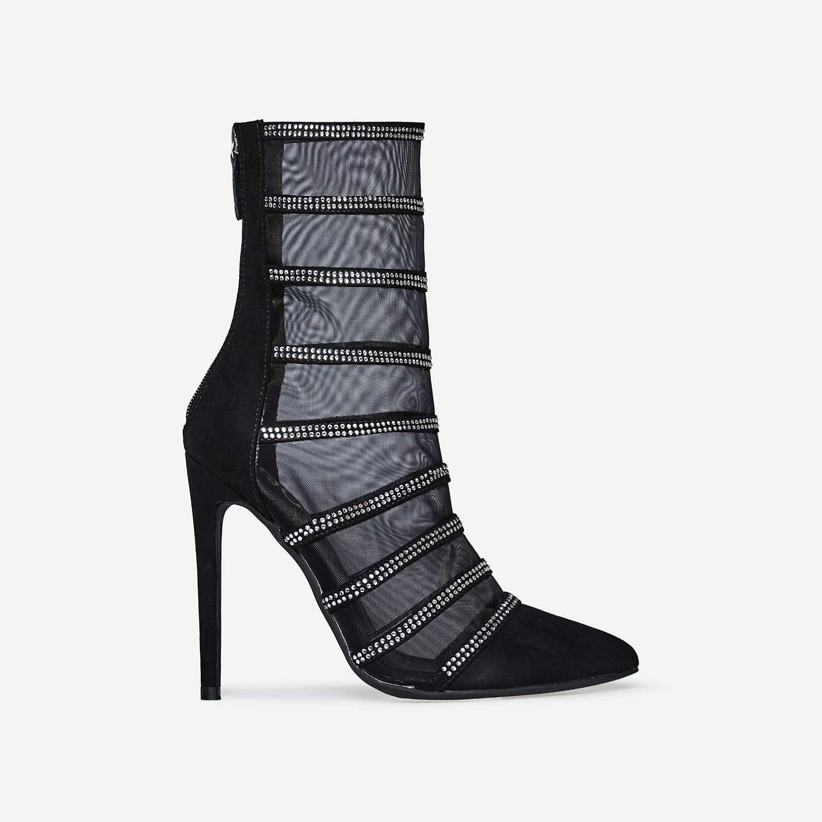 Minnie Silver Diamante Mesh Sock Boot In Black Faux Suede