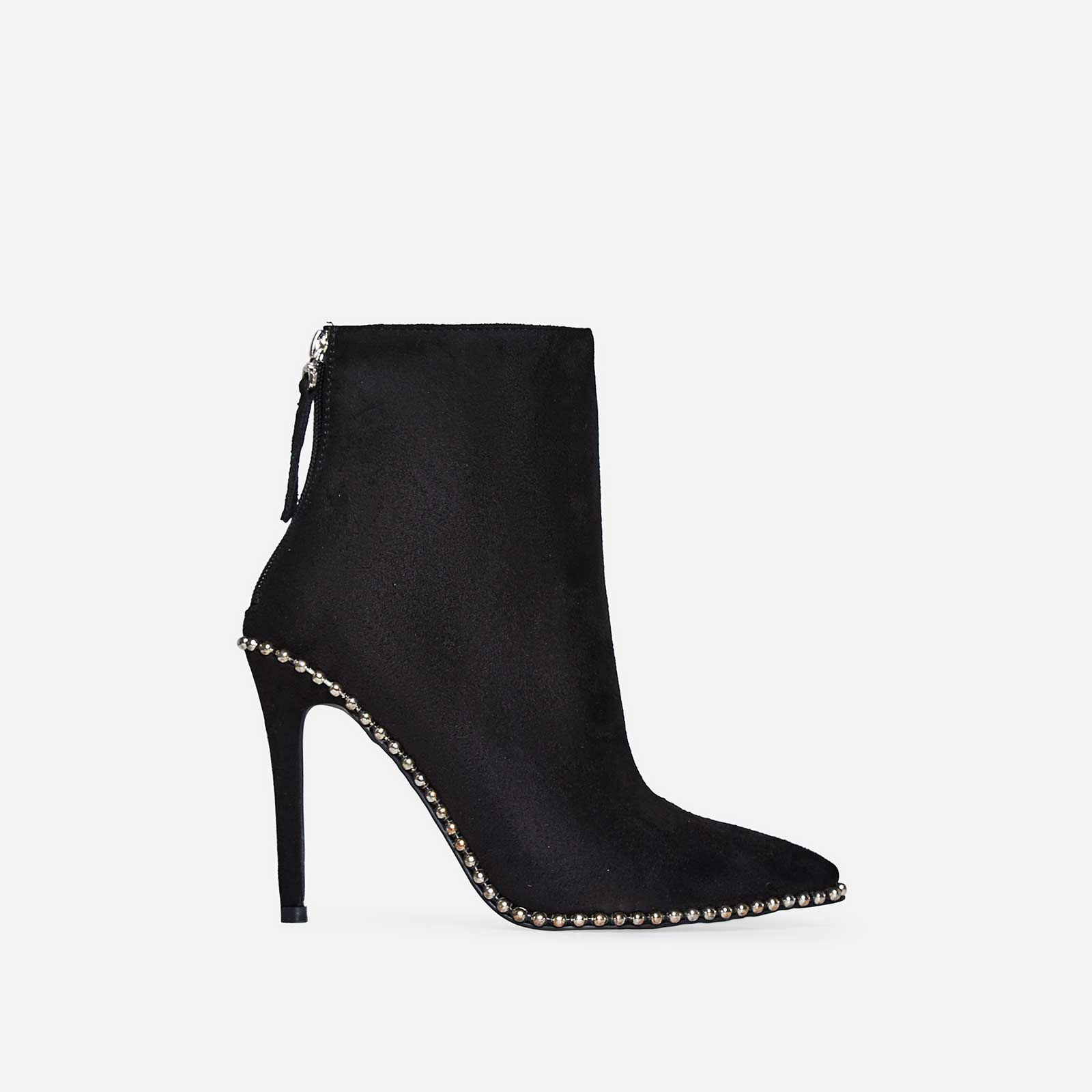 Montana Studded Detail Ankle Boot In Black Faux Suede
