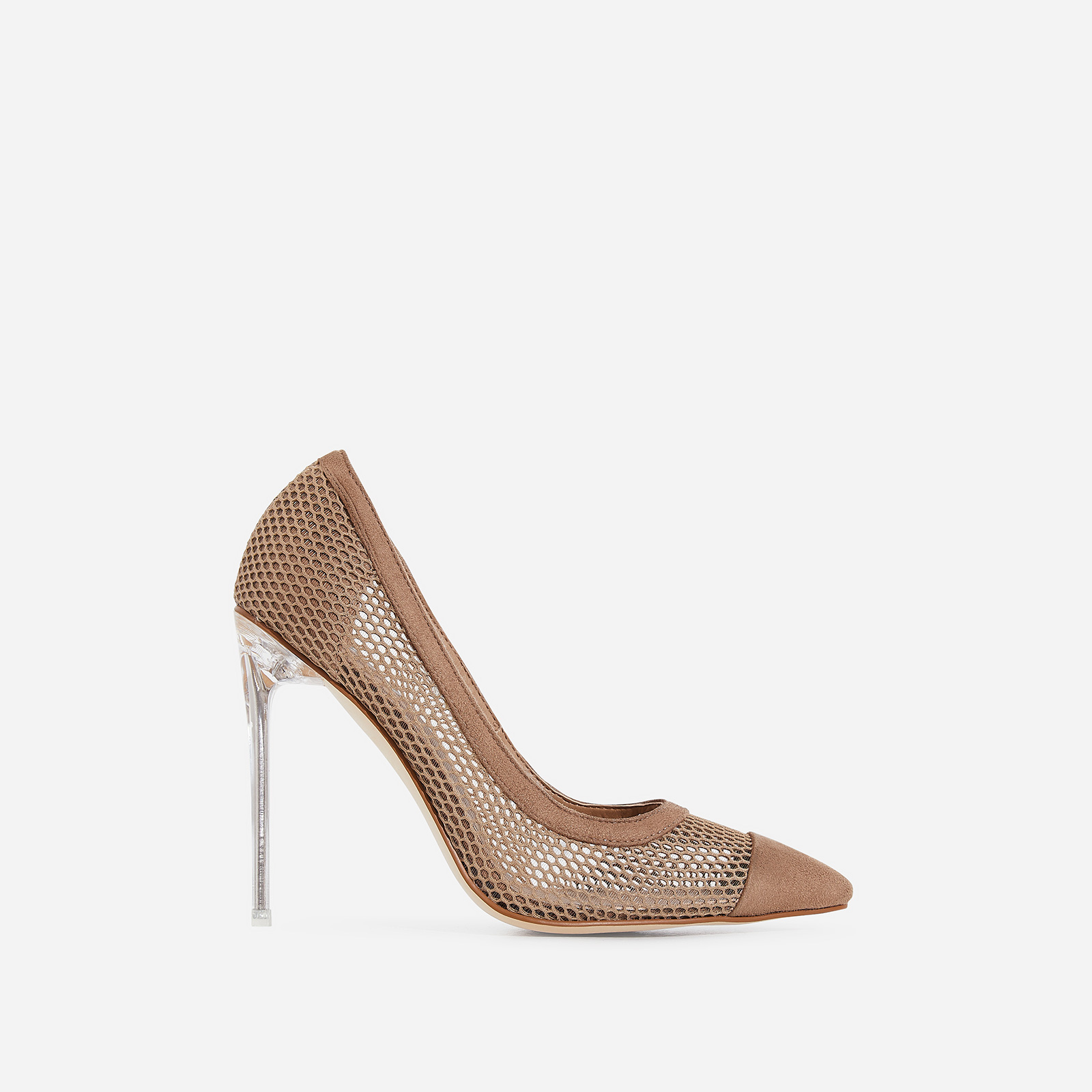 Morgan Perspex Mesh Court Heel In Nude Faux Suede