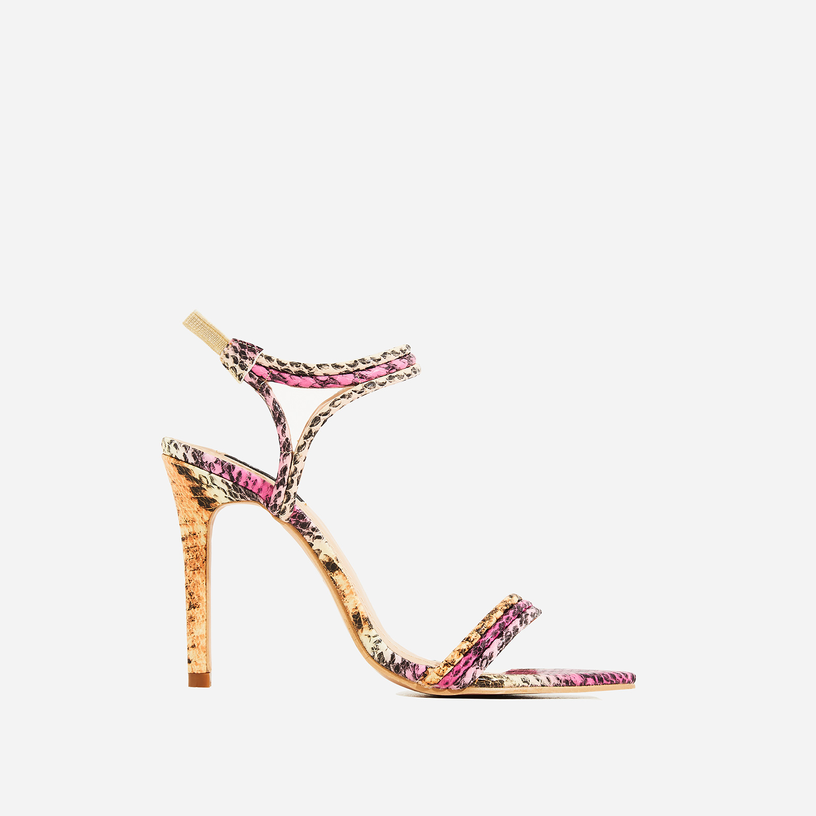 Tilo Pointed Toe Barely There Heel In Pink Snake Faux Leather